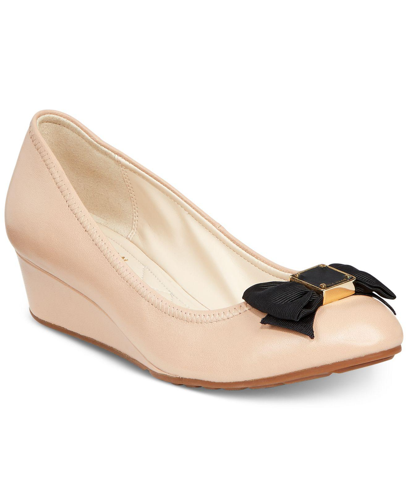 34d9677910ee Lyst - Cole Haan Tali Grand Bow Wedge Pumps in Natural