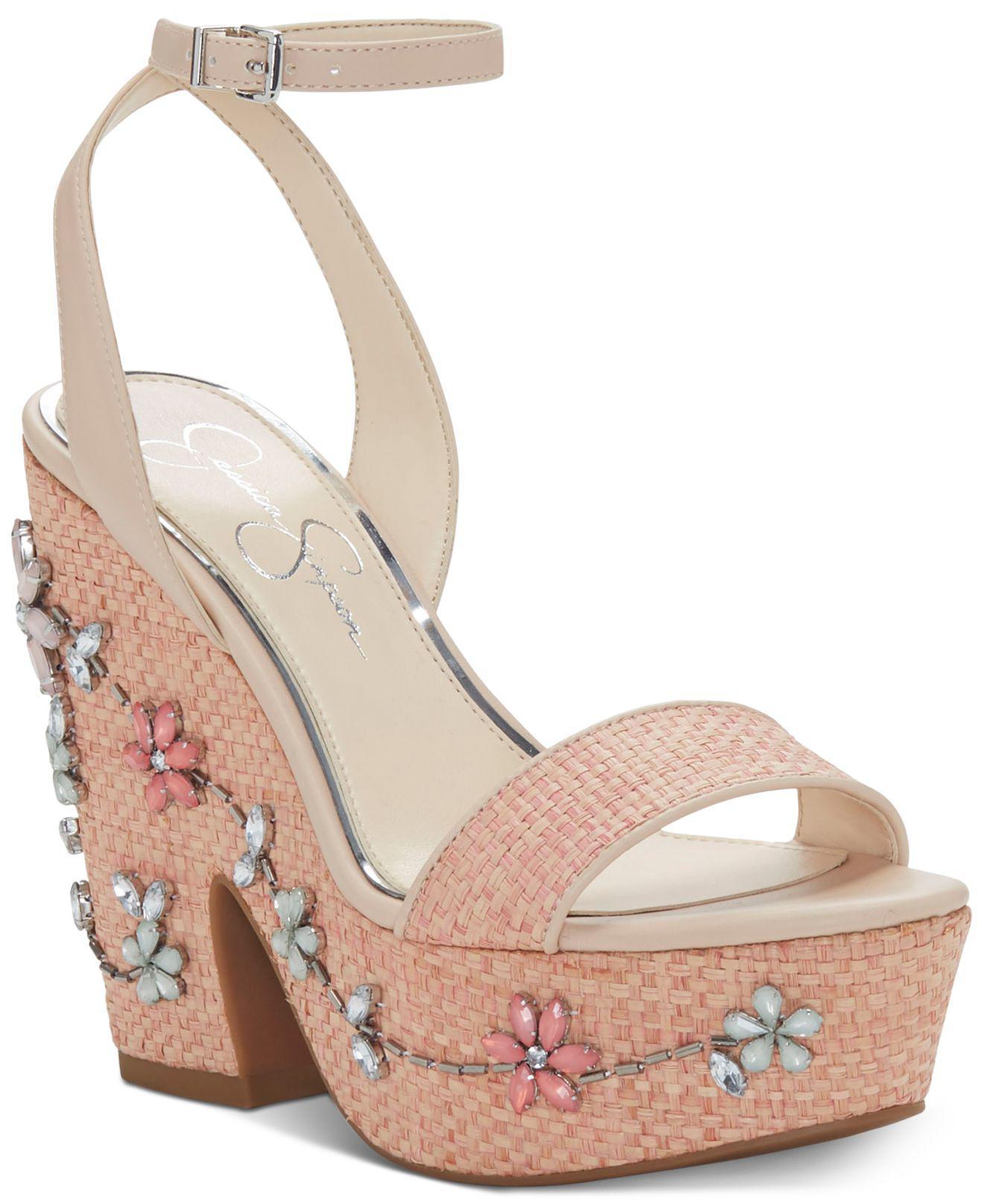 b120c7b7d4f Lyst - Jessica Simpson Cressia Wicker Wedge Sandals