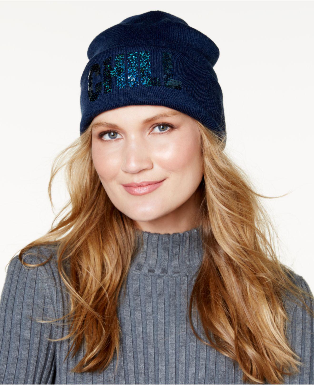 25a9f7fe1ca Lyst - Steve Madden Chill Cuff Hat in Blue