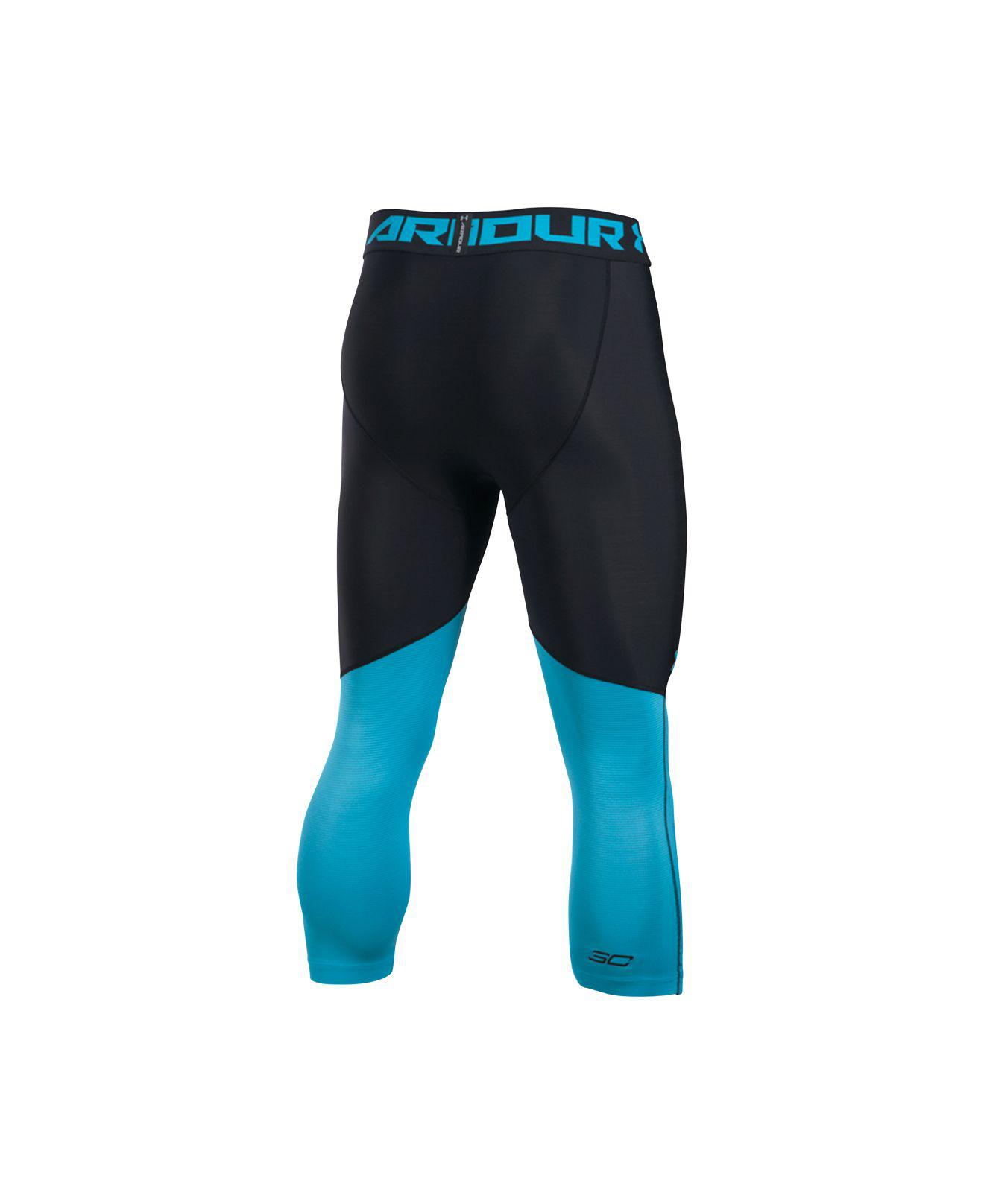 4b0be976e0 Under Armour Blue Men's Heatgear® Colorblocked Steph Curry Cropped  Compression Leggings for men