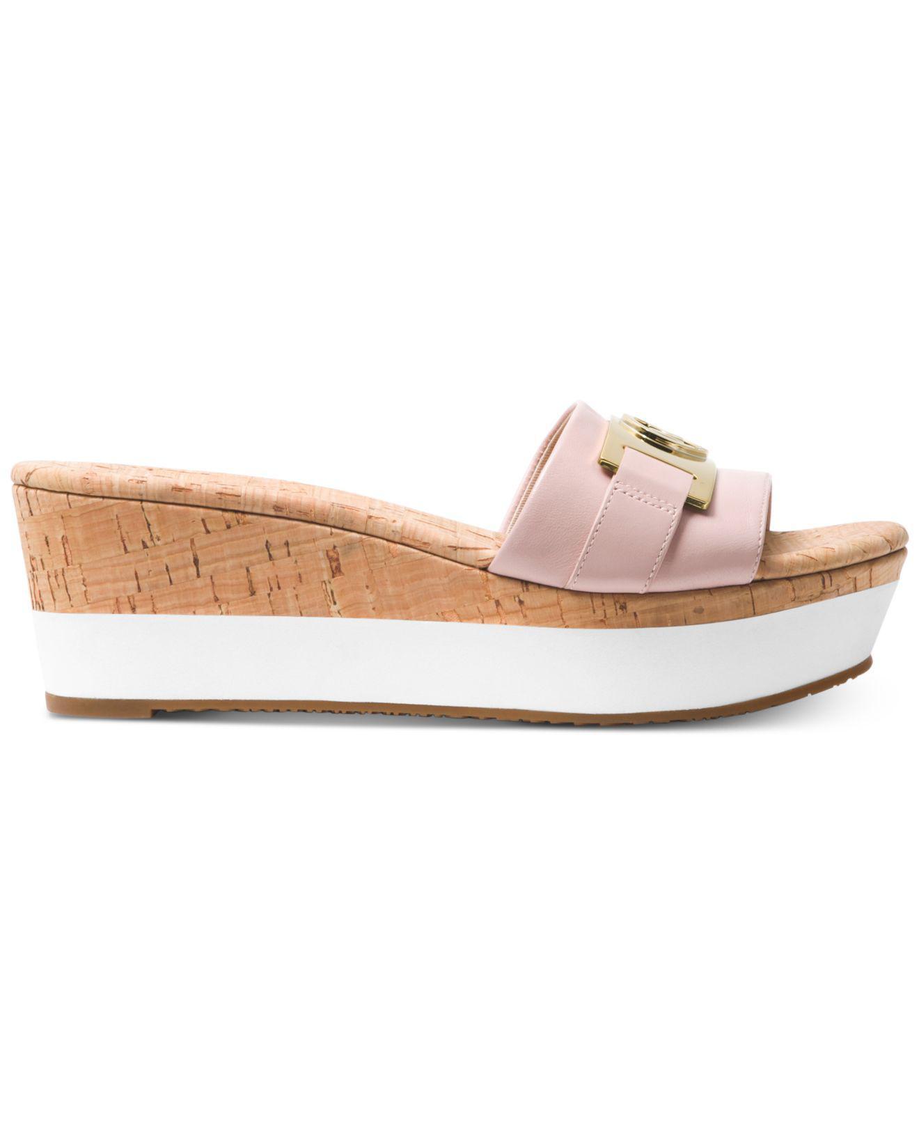 912752e4eb3 Michael Kors Michael Warren Platform Wedge Sandals in Pink - Save 57% - Lyst