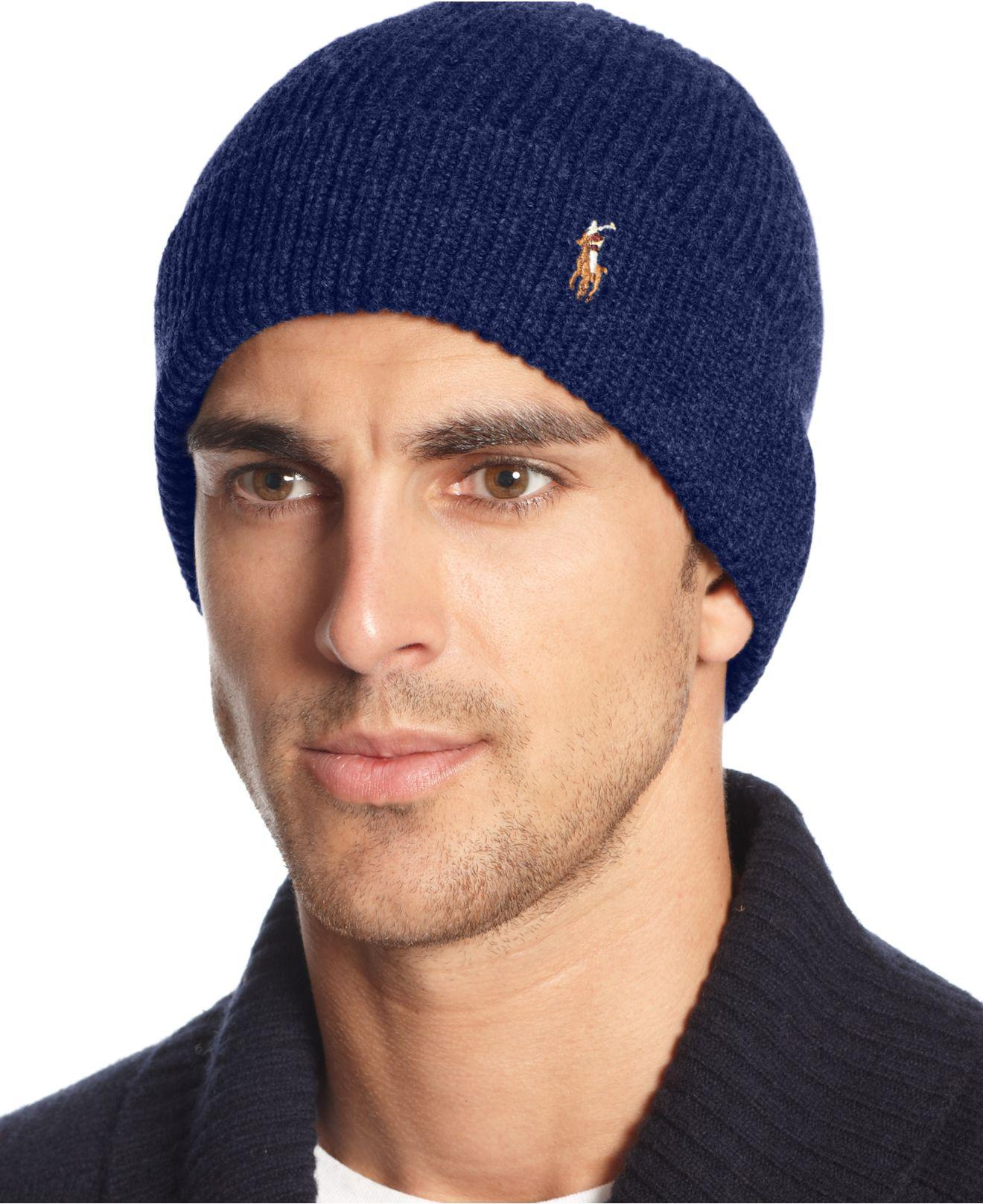 78f5b089 Polo Ralph Lauren Signature Merino Cuffed Beanie in Blue for Men - Lyst