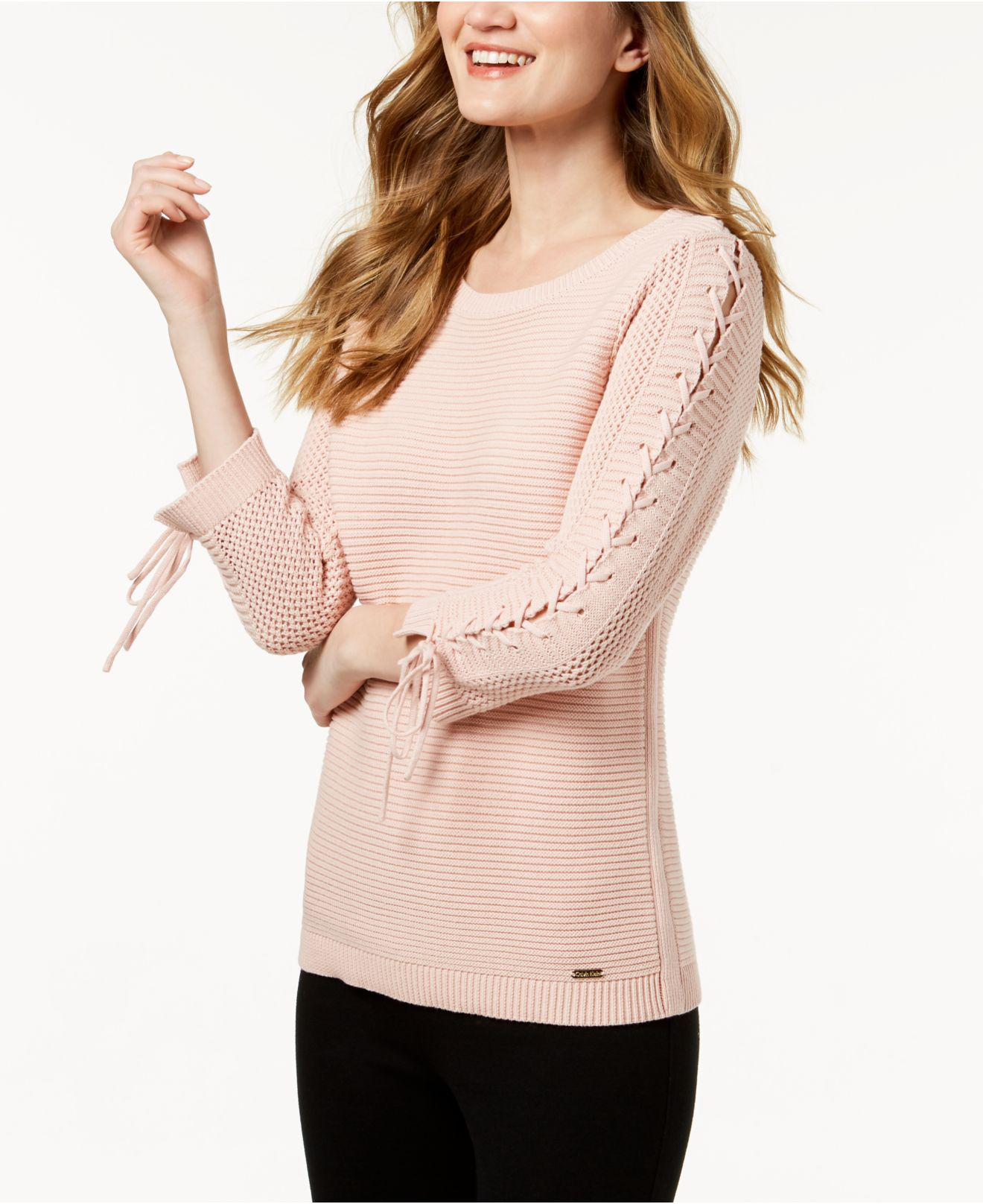 Lace Up Cotton Sweater