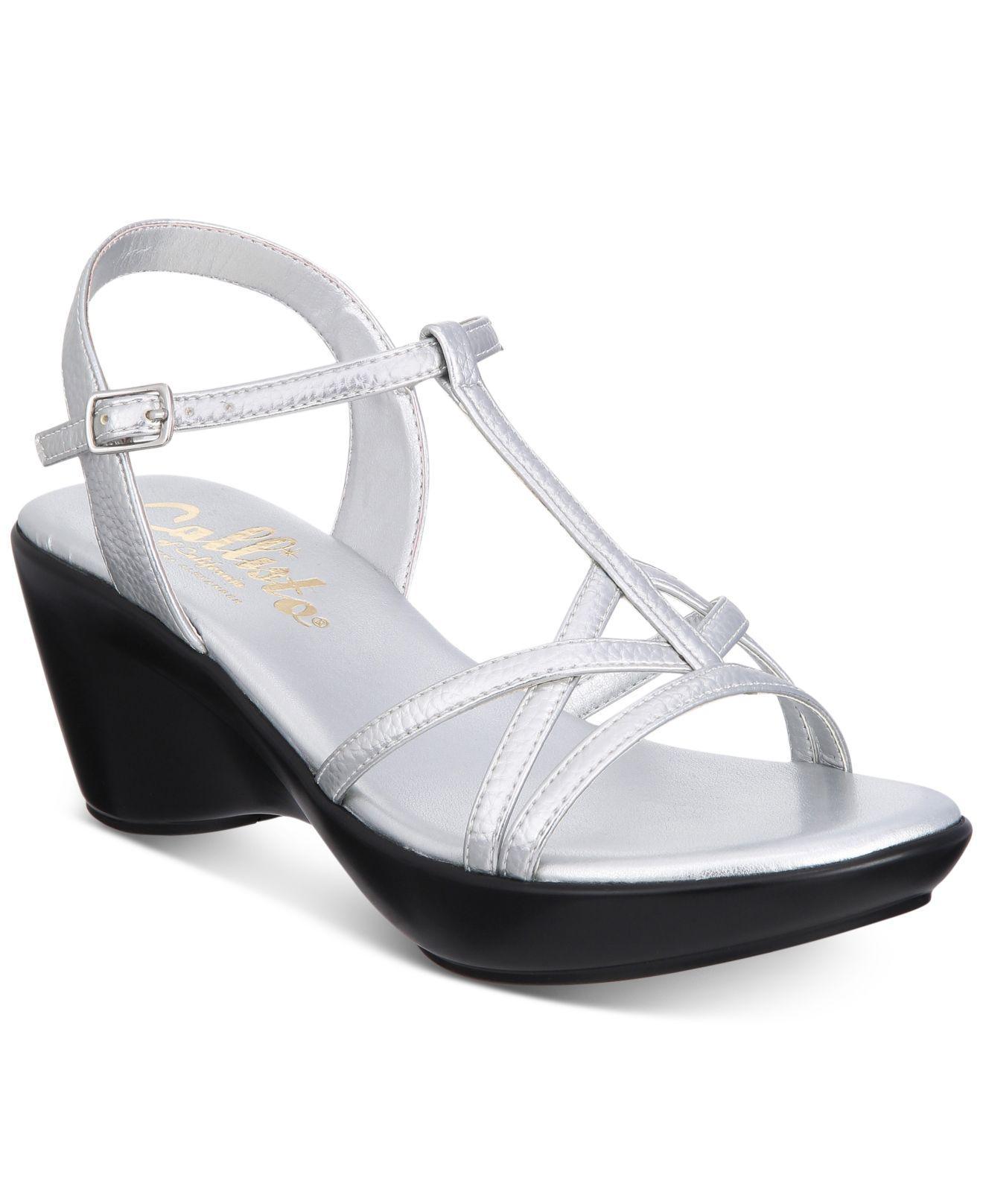 00b53ae48ea7 Lyst - Callisto Caressa Strappy Wedge Sandals in Metallic