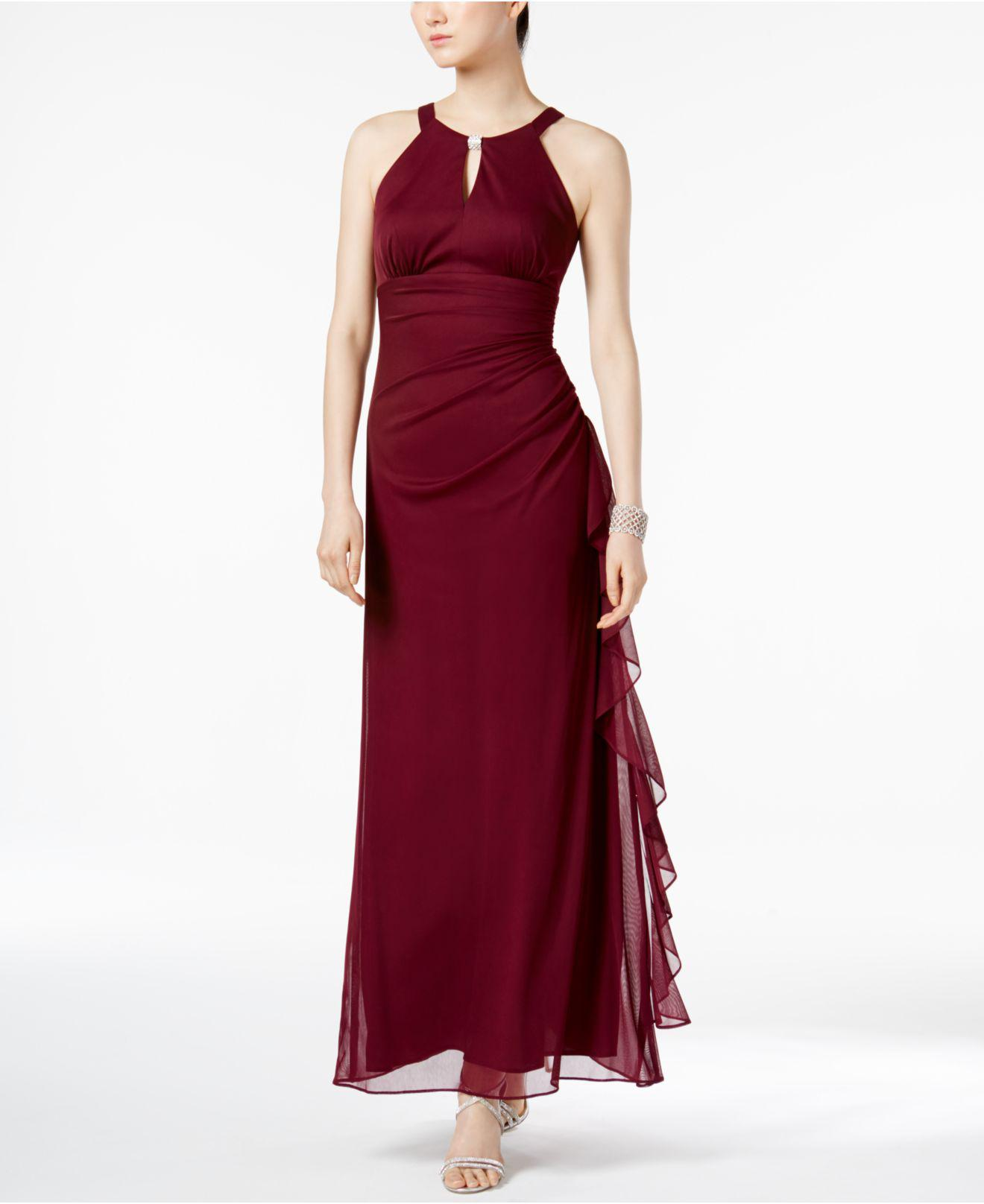 7a118a66fe8 Betsy   Adam Ruched Halter Gown in Red - Lyst
