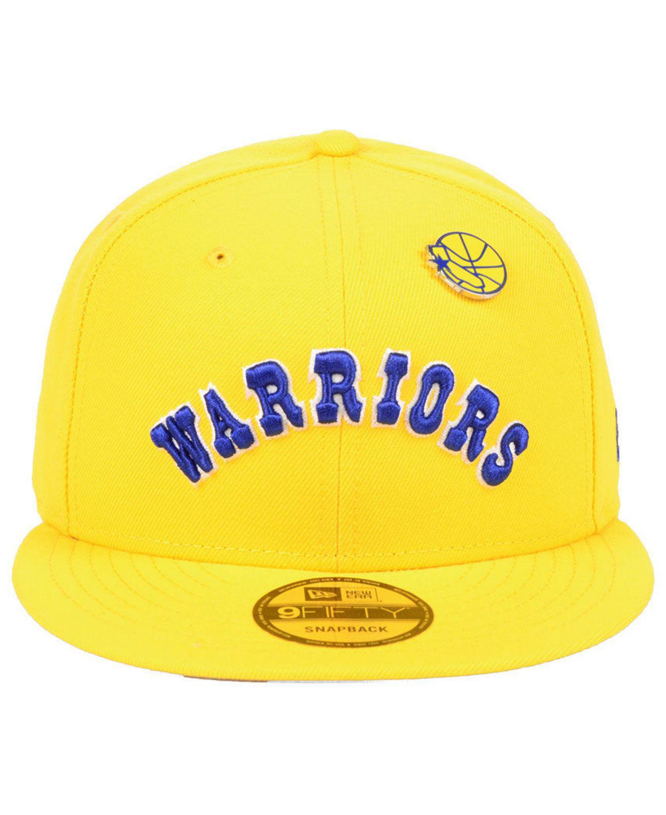 b2a14fbb0a13bf Lyst - KTZ Golden State Warriors Hardwood Classic Nights Pin 9fifty  Snapback Cap in Yellow for Men