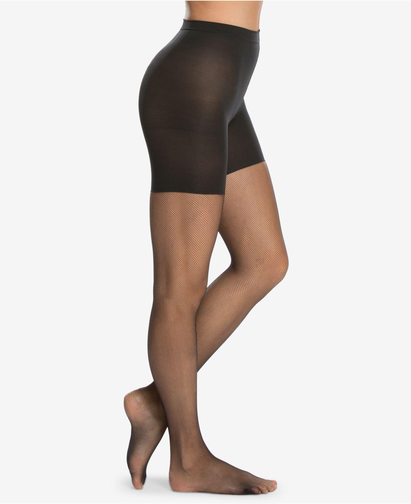 35c61b4e32 Lyst - Spanx ® Micro-fishnet Mid-thigh Shaping Tights in Black