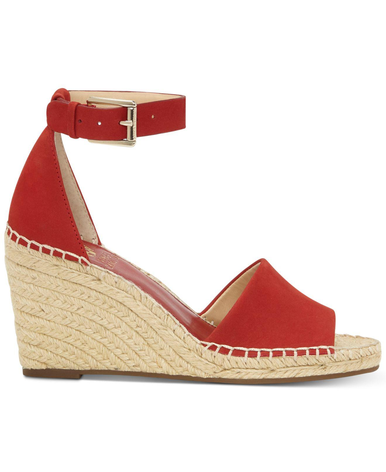 13b6834ebf9 Lyst - Vince Camuto Leera Espadrille Wedge Sandals in Red - Save 46%