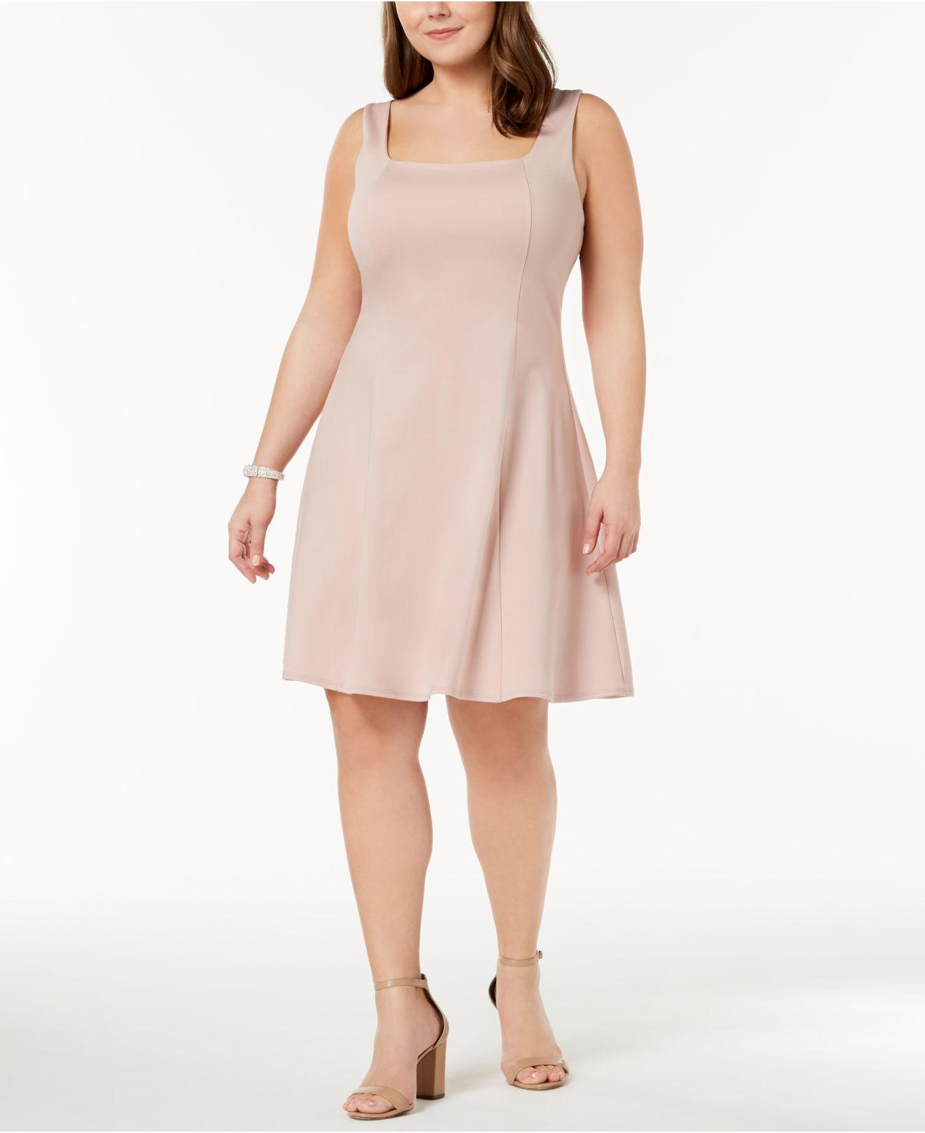 7320b7b68a8 Lyst - Soprano Trendy Plus Size Square-neck Fit   Flare Dress in Pink