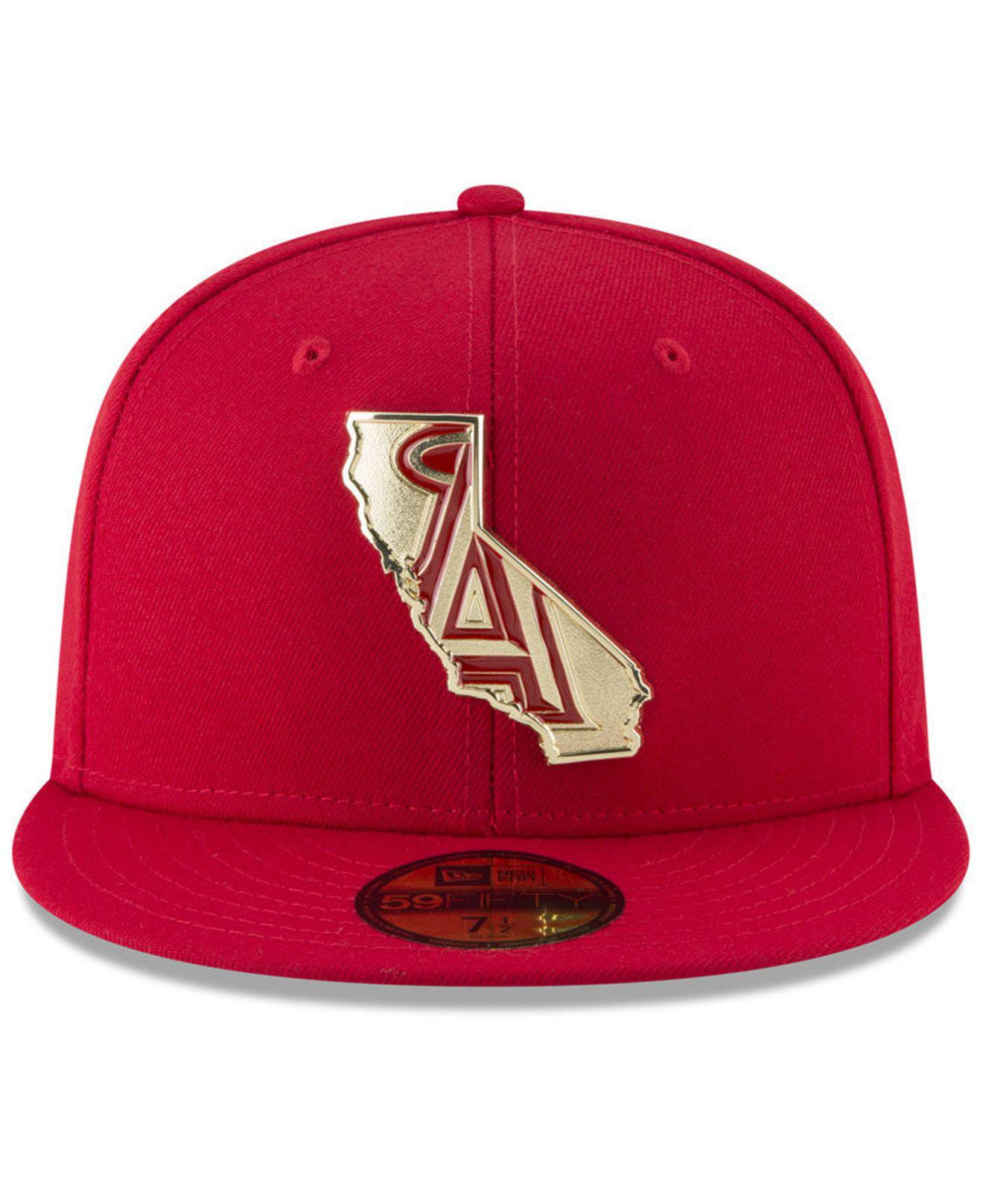 outlet store ea0a4 77f9d ... new zealand lyst ktz los angeles angels gold stated 59fifty fitted cap  in red for men