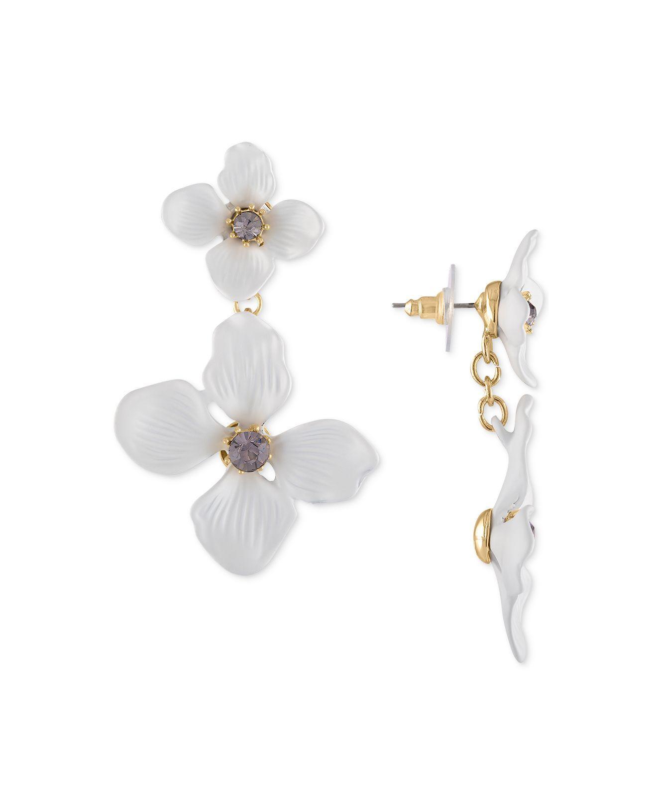 8abb0d485 RACHEL Rachel Roy. Women's White Gold-tone Crystal Flower Double Drop  Earrings