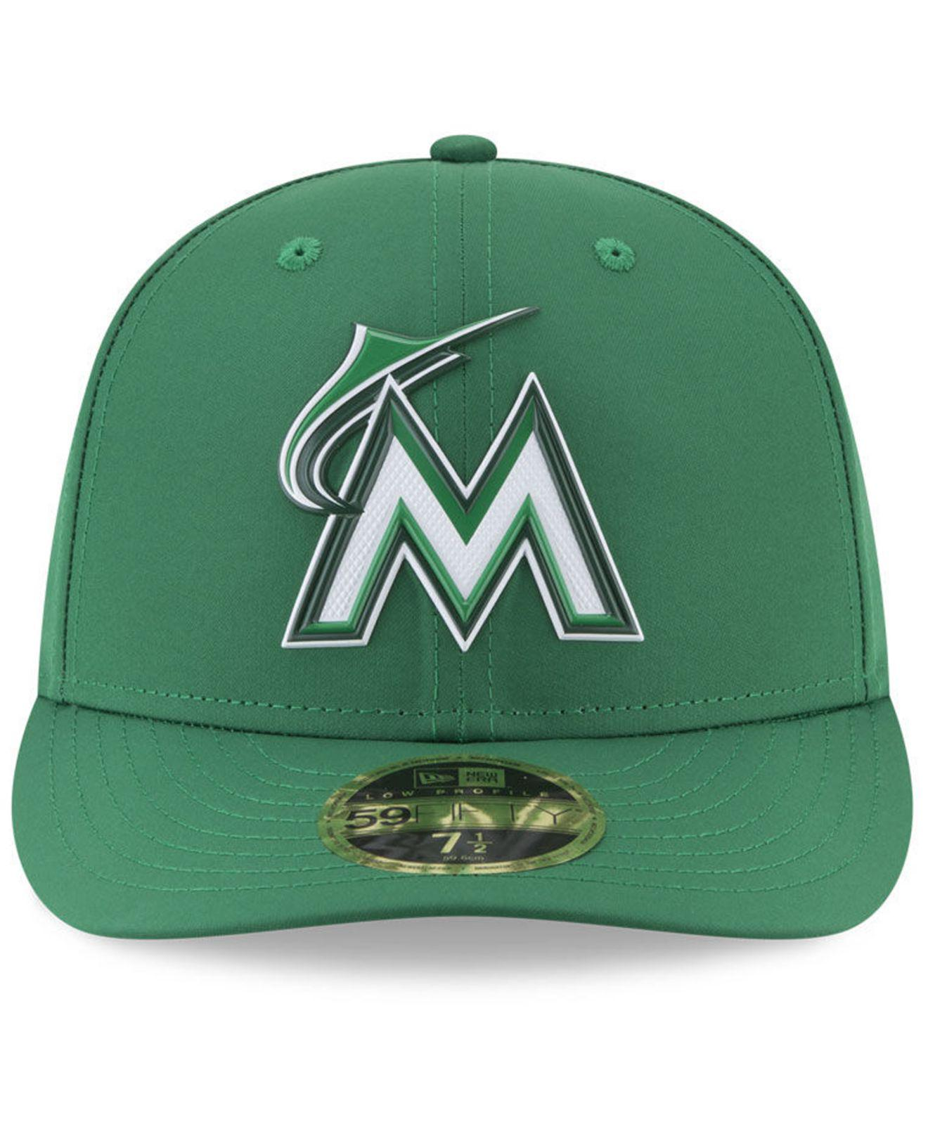 wholesale dealer 66884 d60ba Lyst - KTZ Miami Marlins St. Patty s Day Pro Light Low Crown 59fifty Fitted  Cap in Green for Men