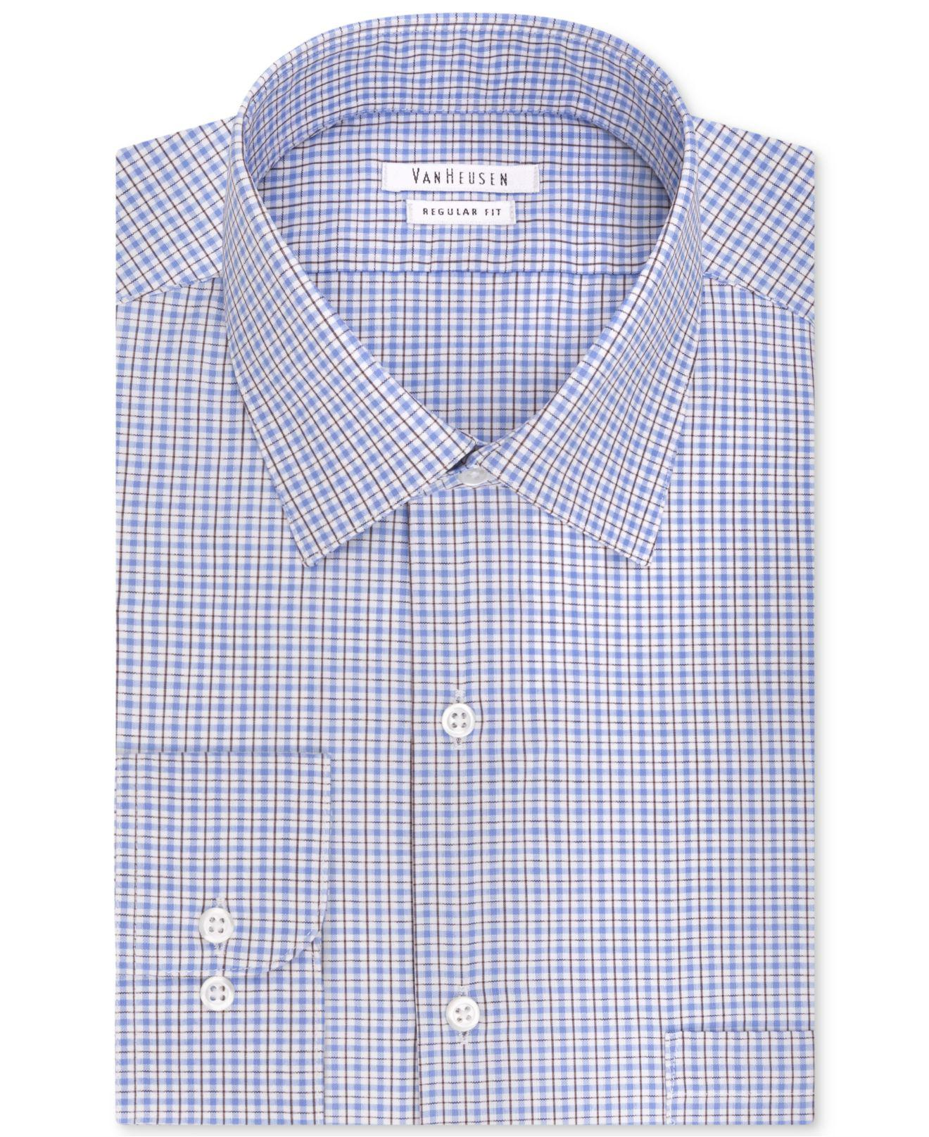 Lyst Van Heusen Classic Fit Blue Multi Check Dress Shirt In Blue