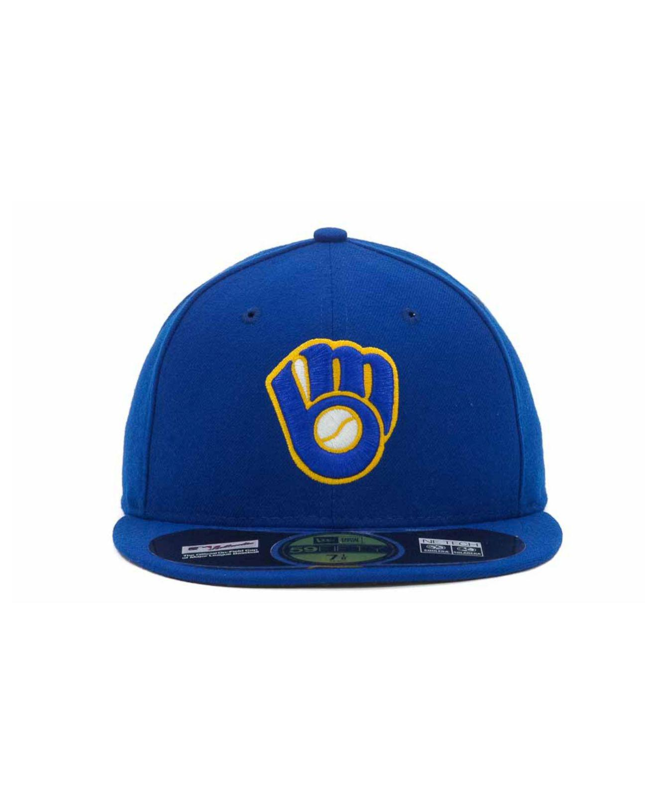 buy popular cdc3b 11ebd Lyst - KTZ Milwaukee Brewers Authentic Collection 59fifty Hat in Blue for  Men