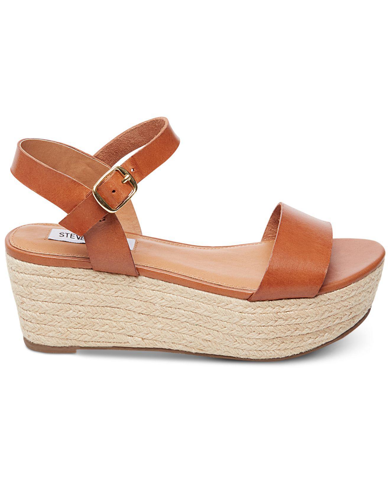 12df99b4c3fb Lyst - Steve Madden Busy Espadrille Wedge Sandals in Brown