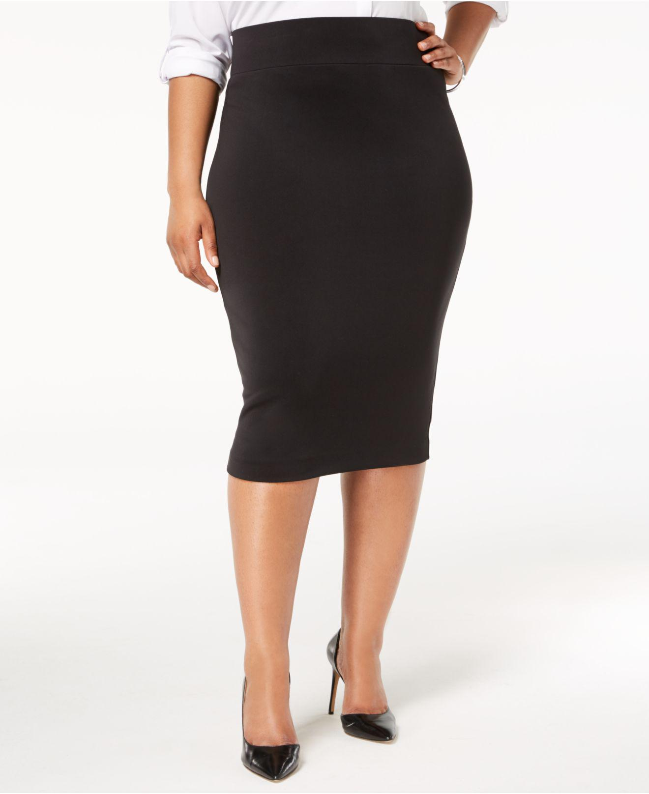 eac4eb7dd01 Lyst - Alfani Plus Size Knit Pencil Skirt in Black - Save 21%