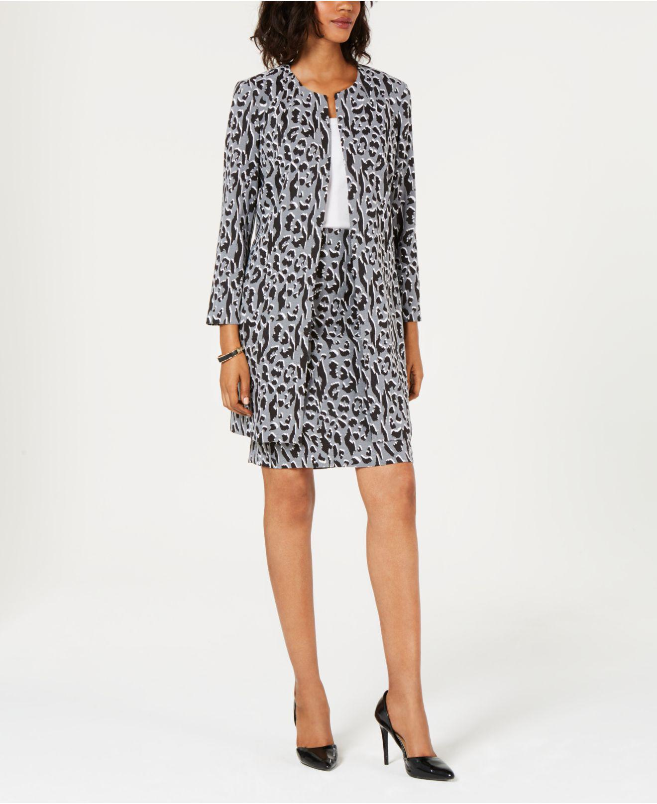 Lyst Alfani Printed Jacquard A Line Jacket Created For Macy S In