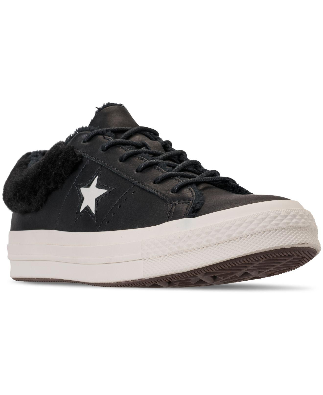 Lyst - Converse One Star Ox Faux Fur Casual Sneakers From Finish ... 439fbc0c2