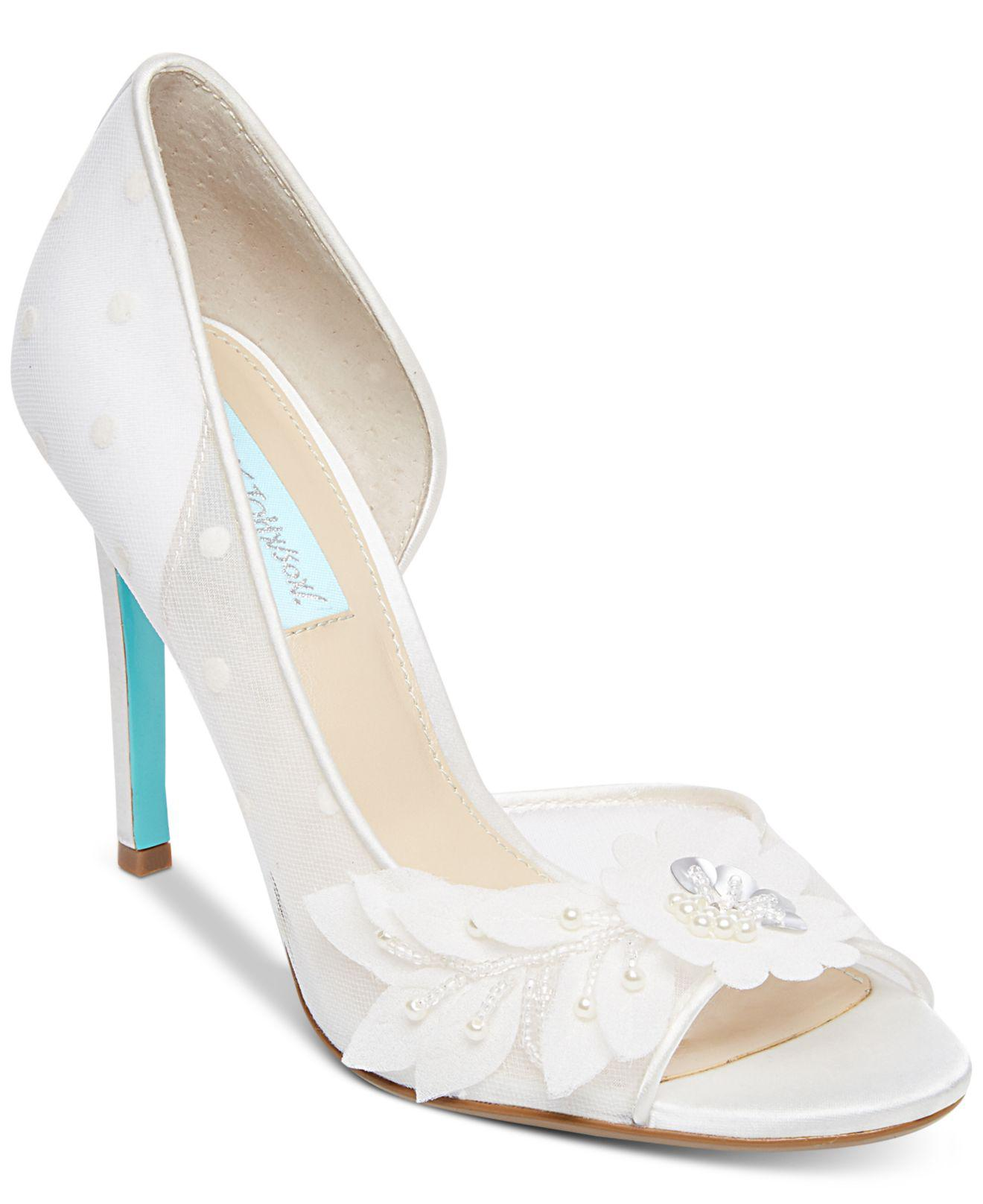739036e4890a00 Lyst - Betsey Johnson Anise Peep-toe D orsay Evening Pumps in White