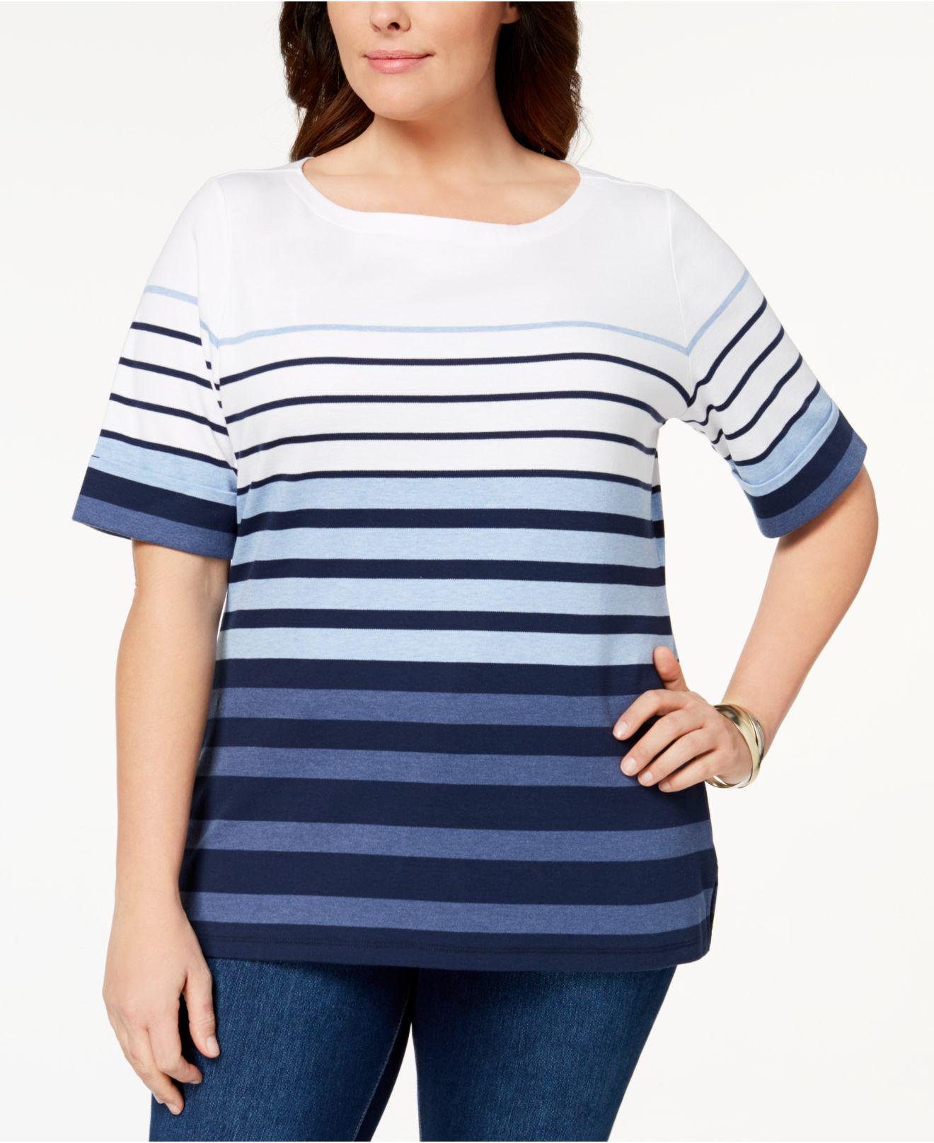 c8ff573f0d9 Lyst - Karen Scott Plus Size Cotton Striped Cuffed-sleeve Top ...