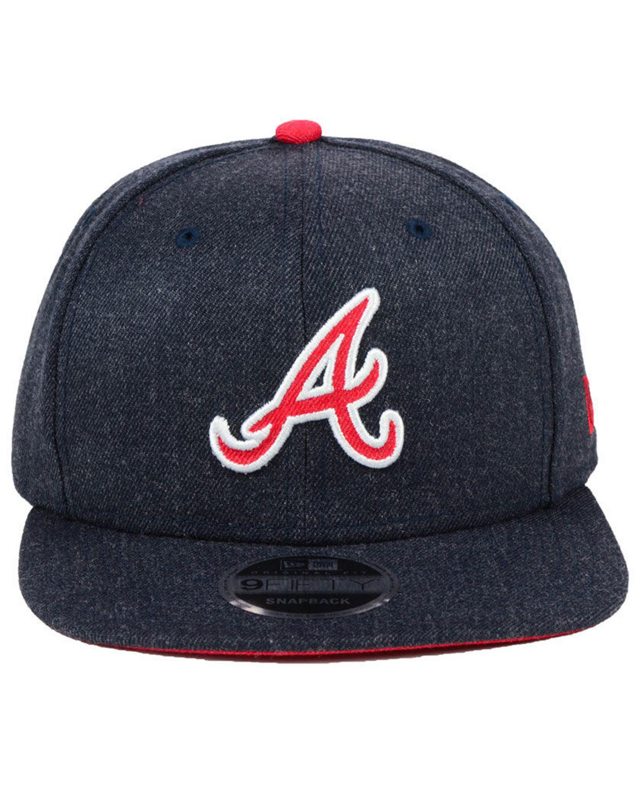 new styles 8323a f3491 ... cheap lyst ktz atlanta braves heather hype 9fifty snapback cap in blue  for men 221bd 93d16