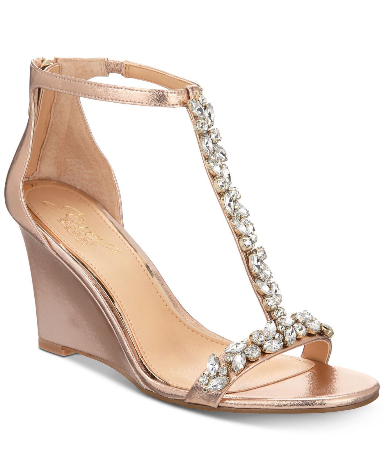 f1ca1c0ba0f Lyst - Badgley Mischka Meryl Wedge Evening Sandals in Metallic