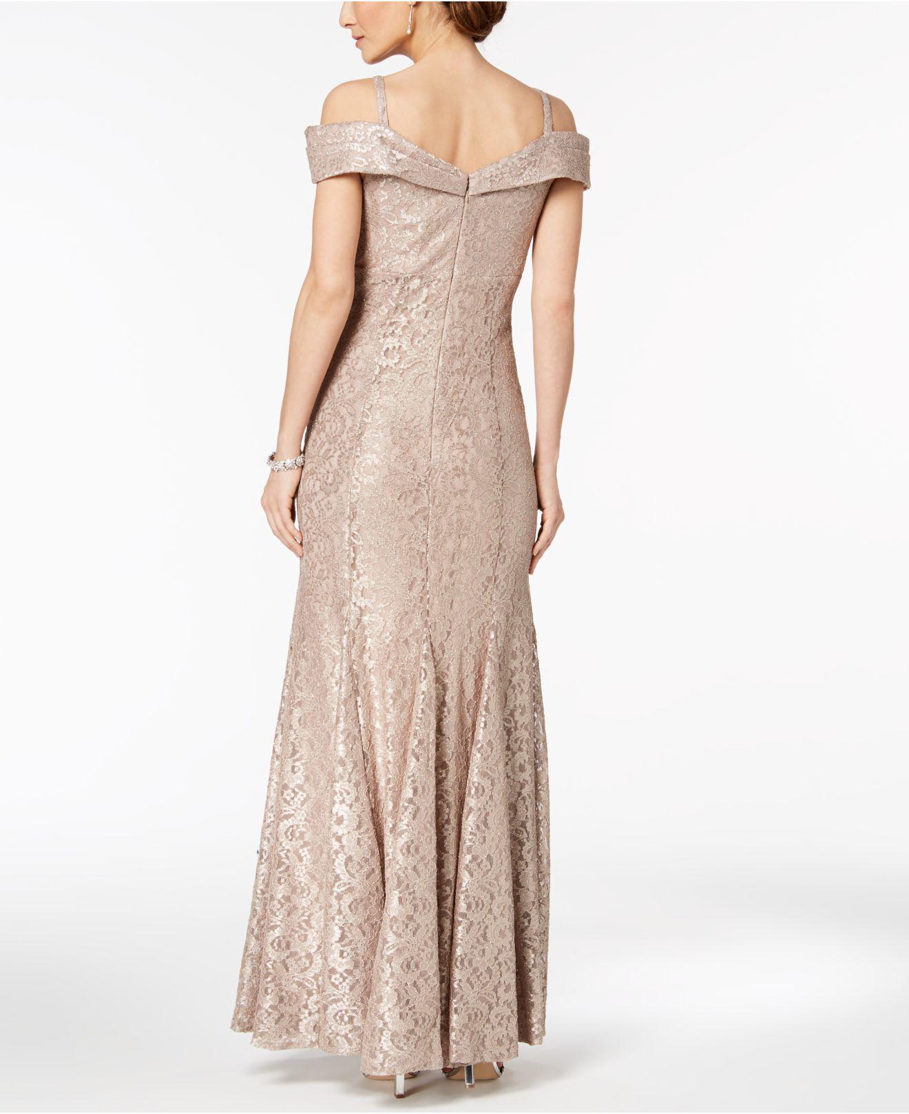 Lyst - R & M Richards Off-the-shoulder Lace Gown, Regular & Petite Sizes