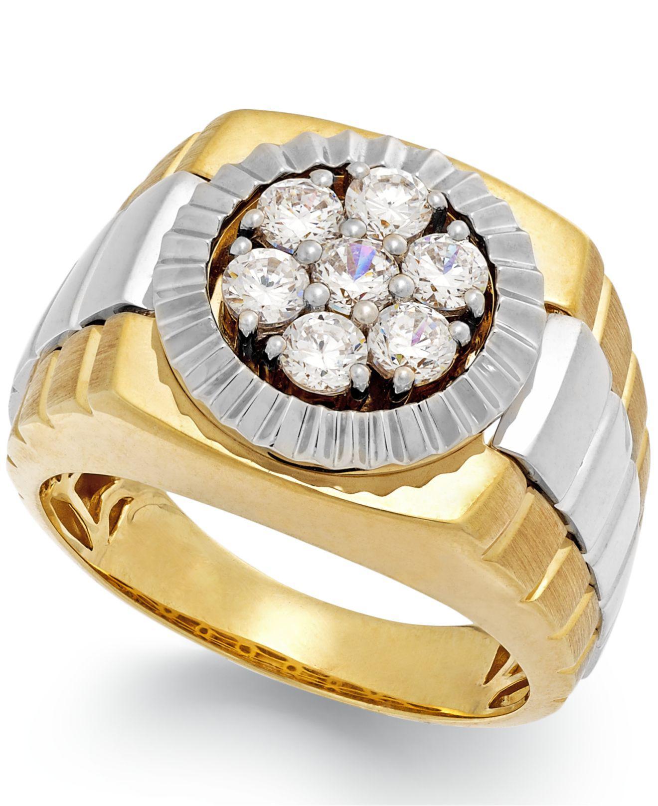 Macy's Men's Diamond Two-tone Ring In 10k Gold (1 Ct. T.w ...