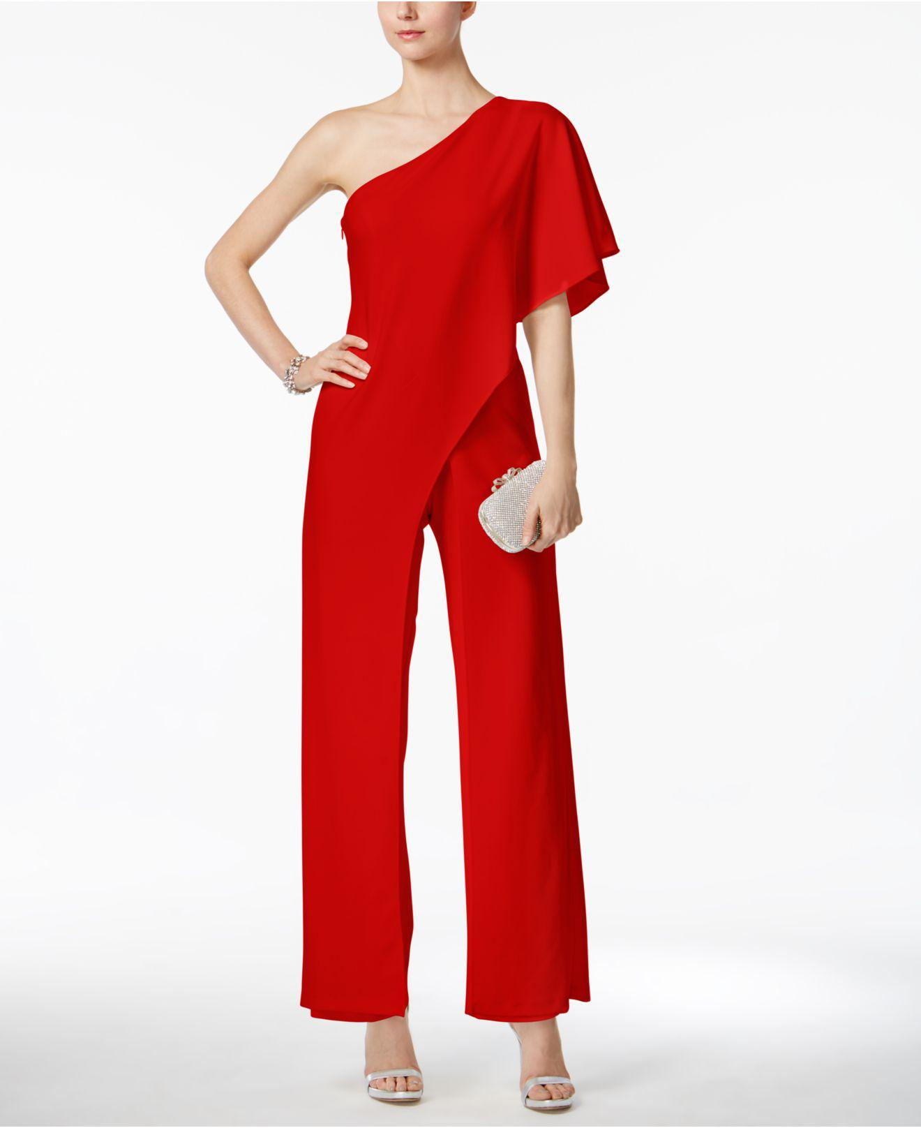 a4750d2812c1 Lyst - Adrianna Papell Draped One-shoulder Jumpsuit in Red