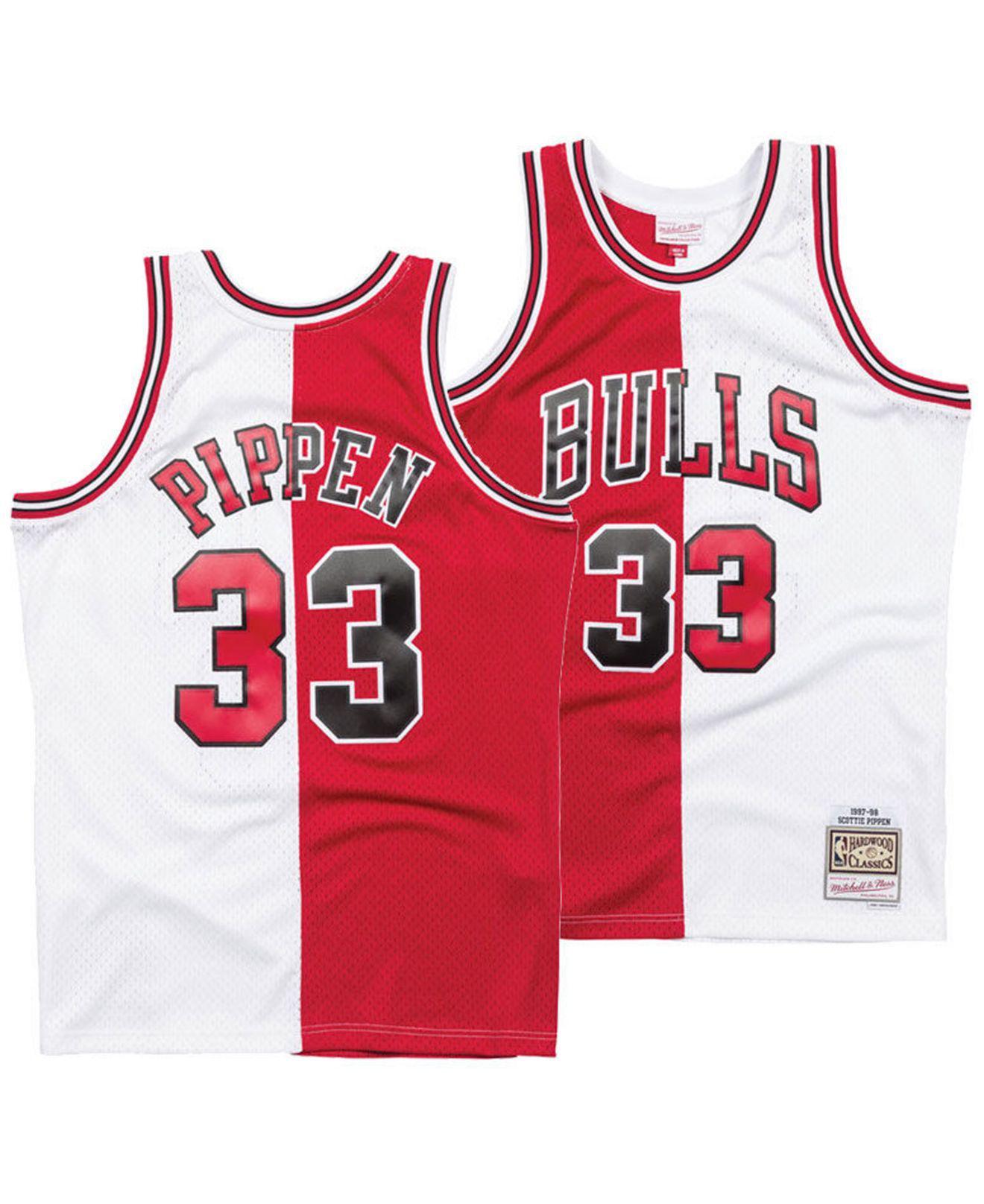 23aadc183 Mitchell   Ness. Men s Red Scottie Pippen Chicago Bulls Split Swingman  Jersey