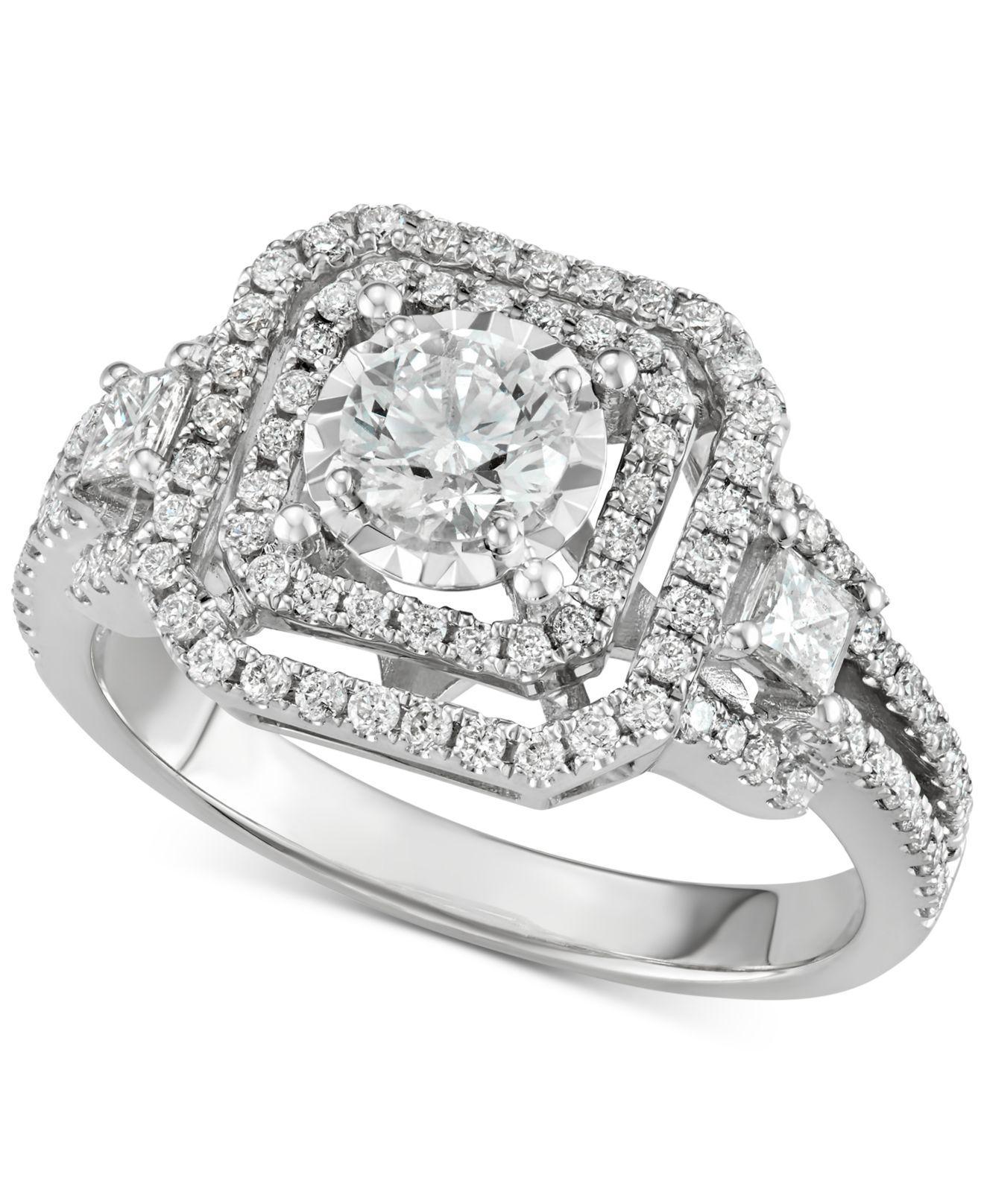 Macy'S Diamond Openwork Square Halo Engagement Ring