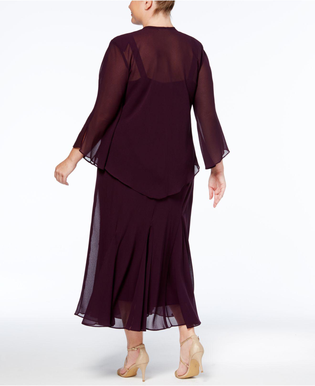 Women\'s Plus Size Beaded V-neck Dress And Jacket