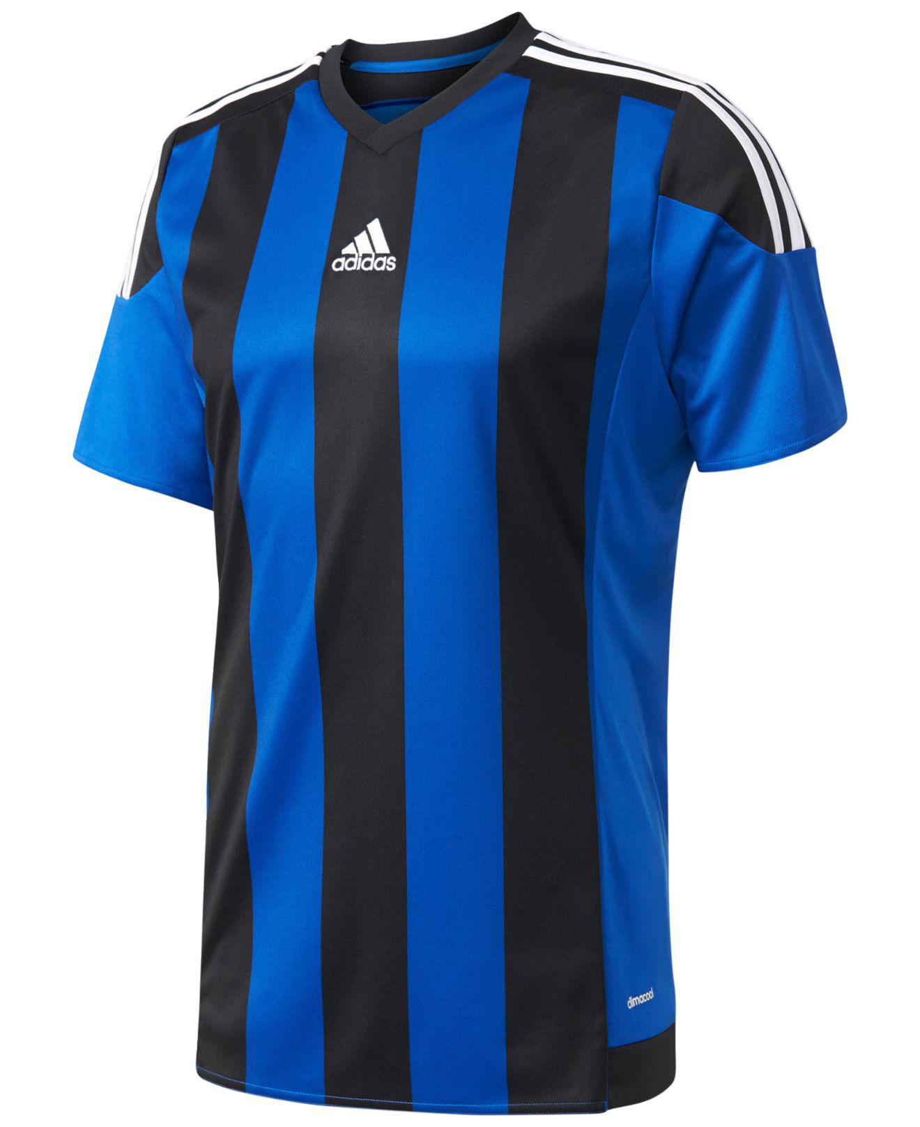 adidas Synthetic Climacool® Striped Soccer Jersey in Blue/Black ...