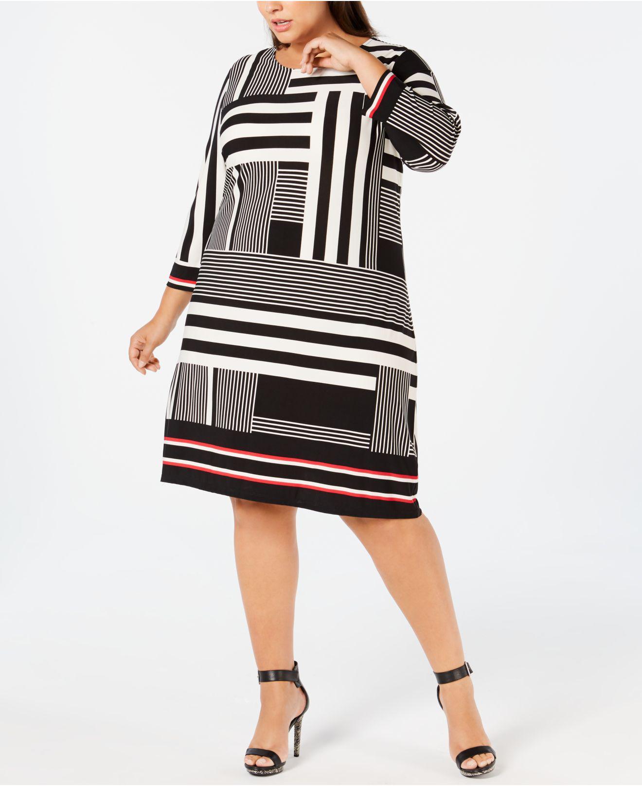 0b84ed2a8e7 Lyst - Calvin Klein Plus Size Printed Shift Dress in Gray