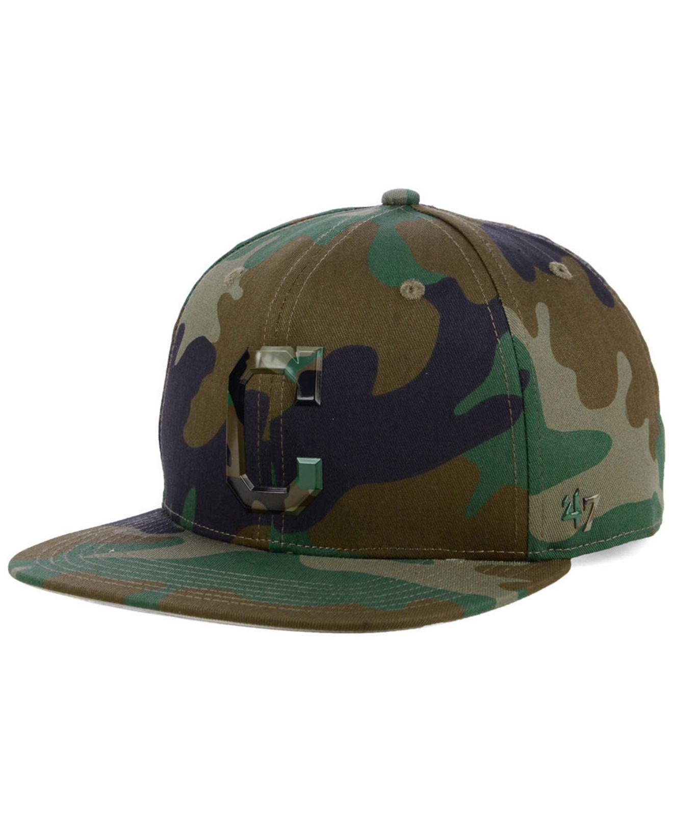 newest 430a3 685f6 ... Cleveland Indians Camo Snapback Cap for Men - Lyst. View fullscreen