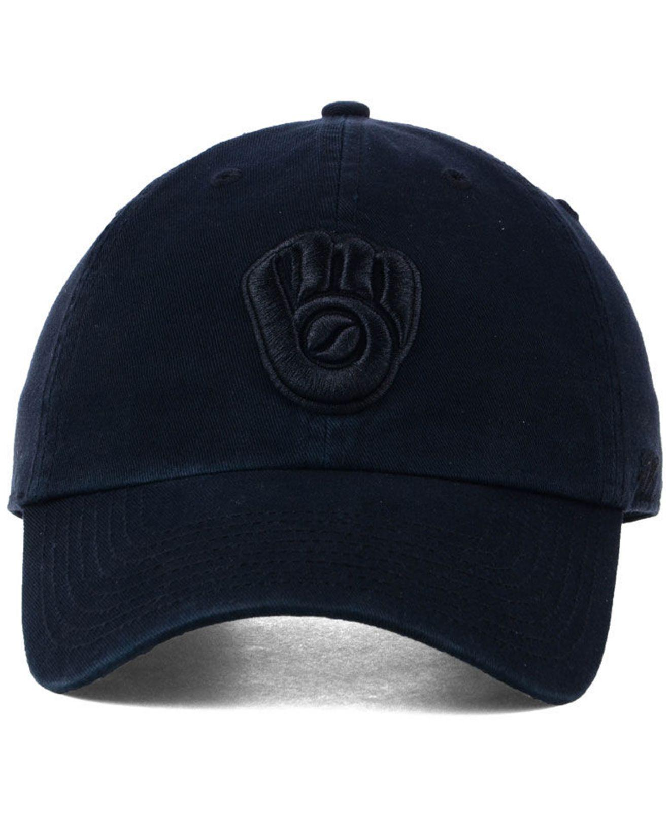 Lyst - 47 Brand Milwaukee Brewers Black On Black Clean Up Cap in Black for  Men 60b76454d07b
