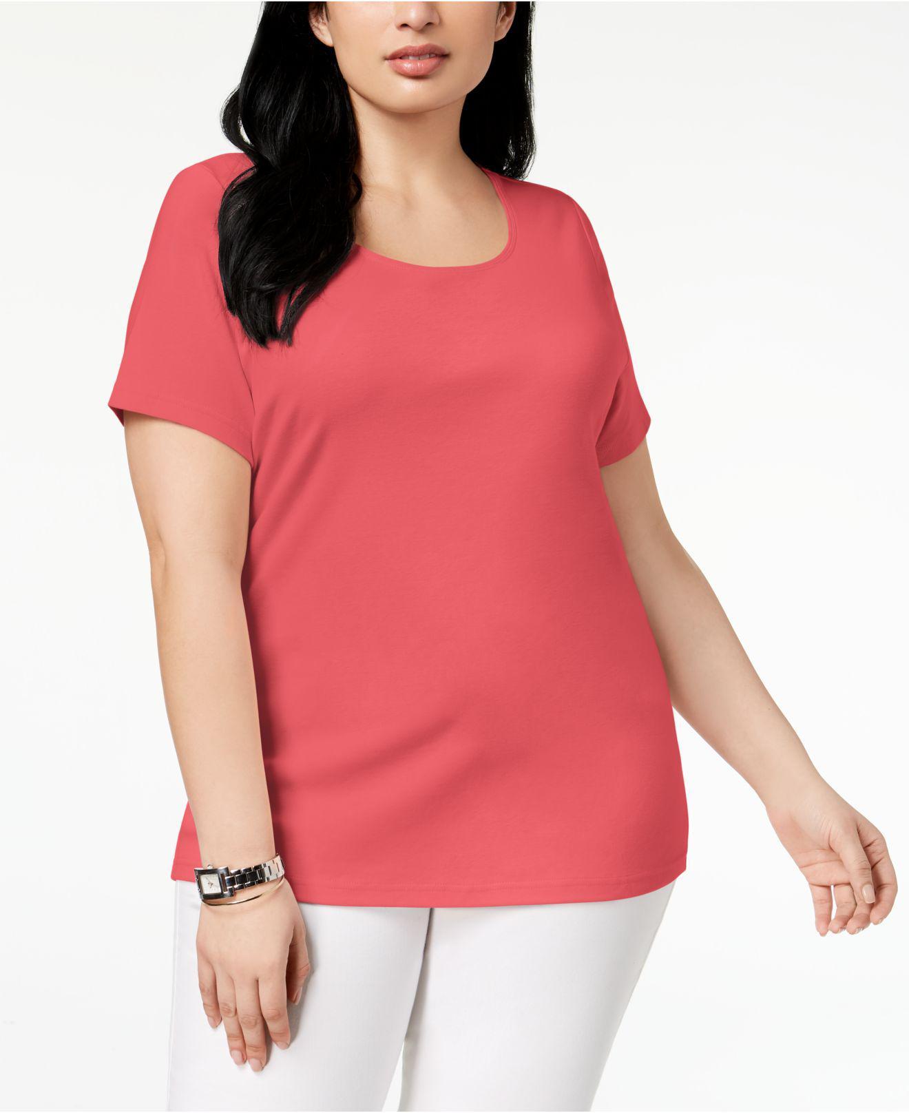 038fb967ac034 Lyst - Karen Scott Plus Size Cotton Scoop-neck T-shirt