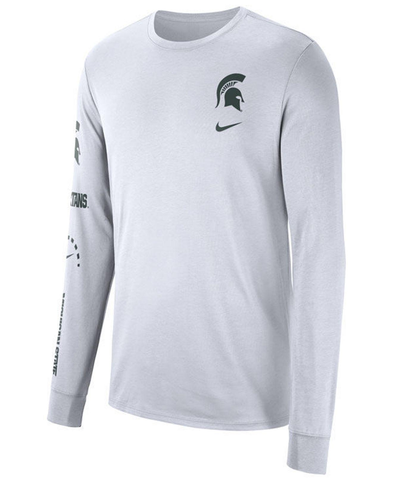 15c472234fa Nike. Men s White Michigan State Spartans Long Sleeve Basketball T-shirt