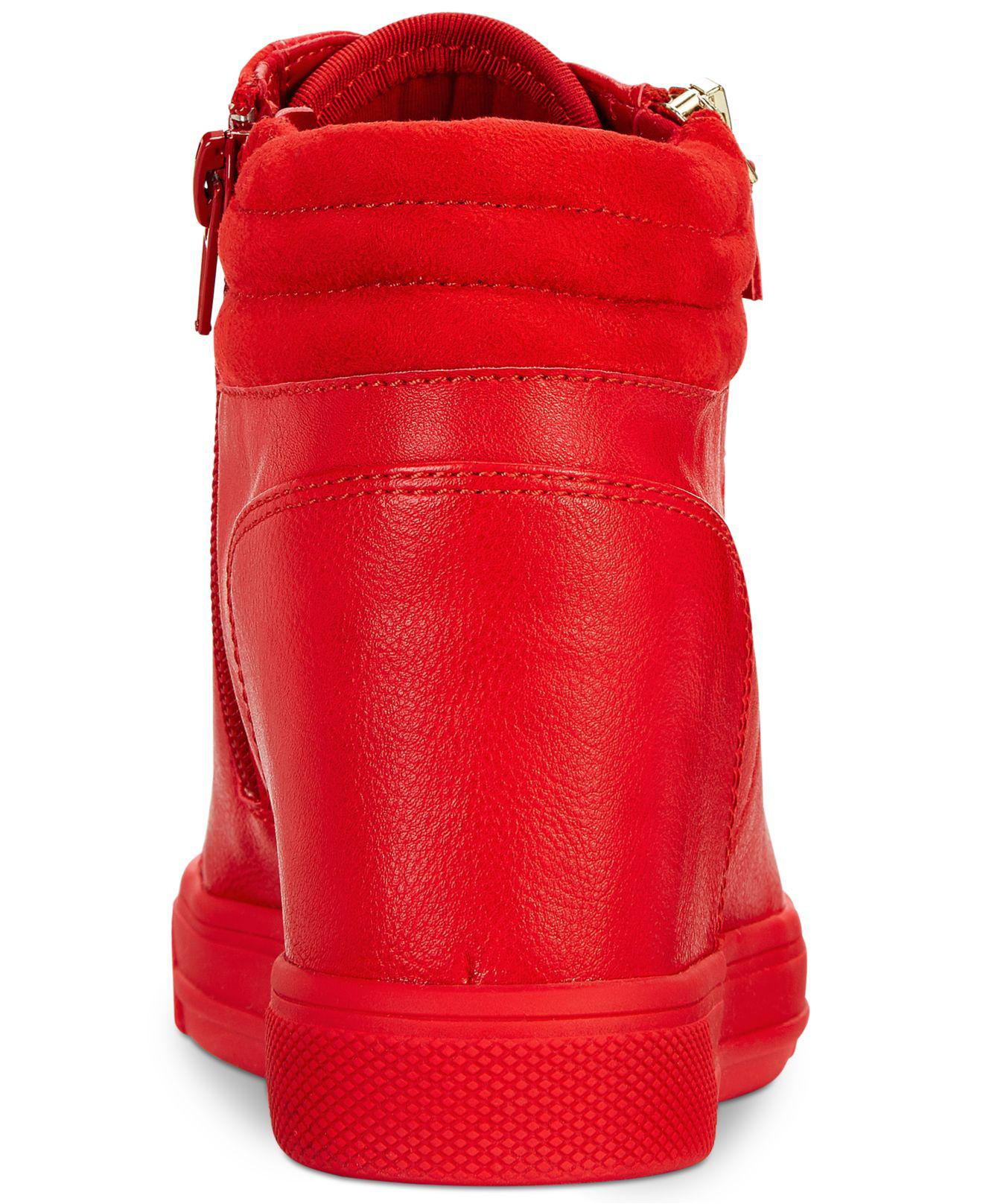 90bbc5395ebe Lyst - ALDO Kaia Lace-up Wedge Sneakers in Red