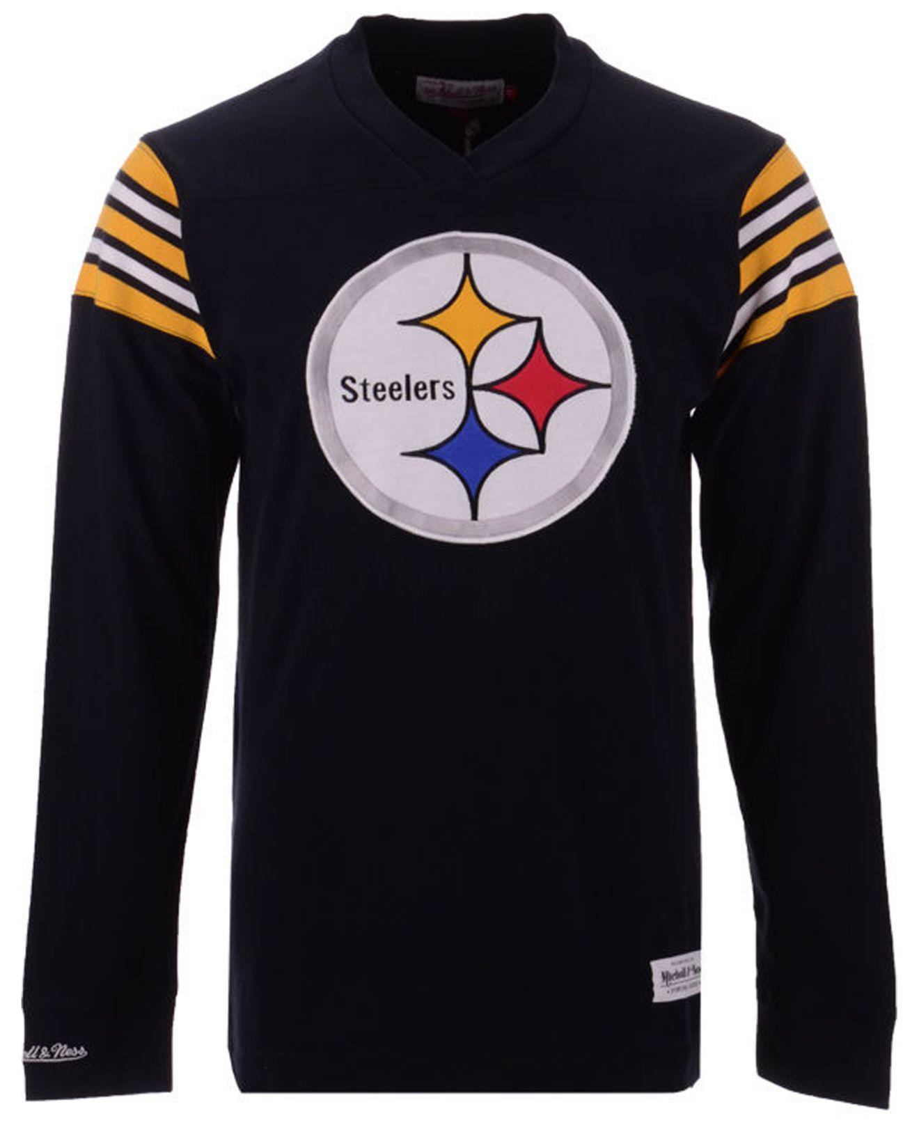 ca33fb213 Mitchell   Ness. Men s Black Pittsburgh Steelers Team Captain V-neck Long  Sleeve T-shirt
