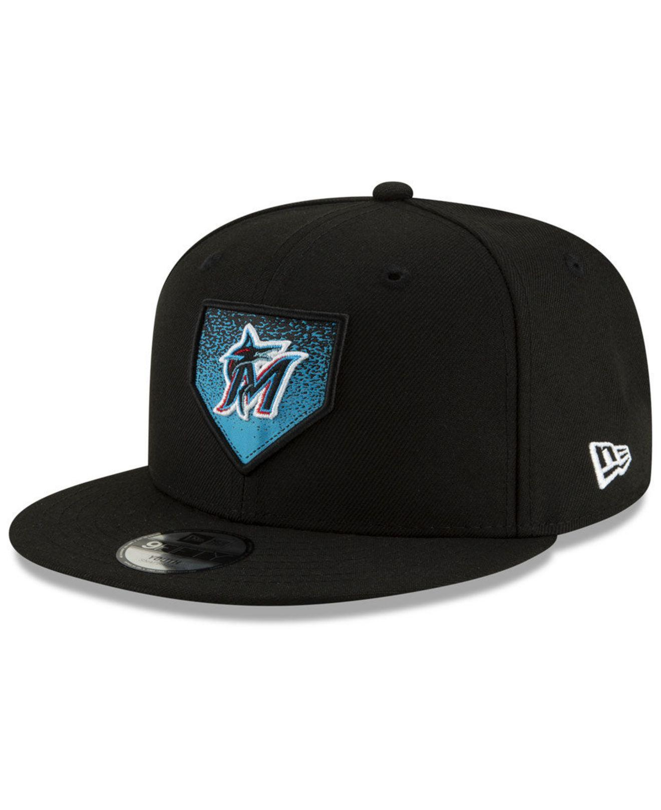 lowest price 4a391 36616 KTZ. Men s Black Miami Marlins Lil Plate 9fifty Cap