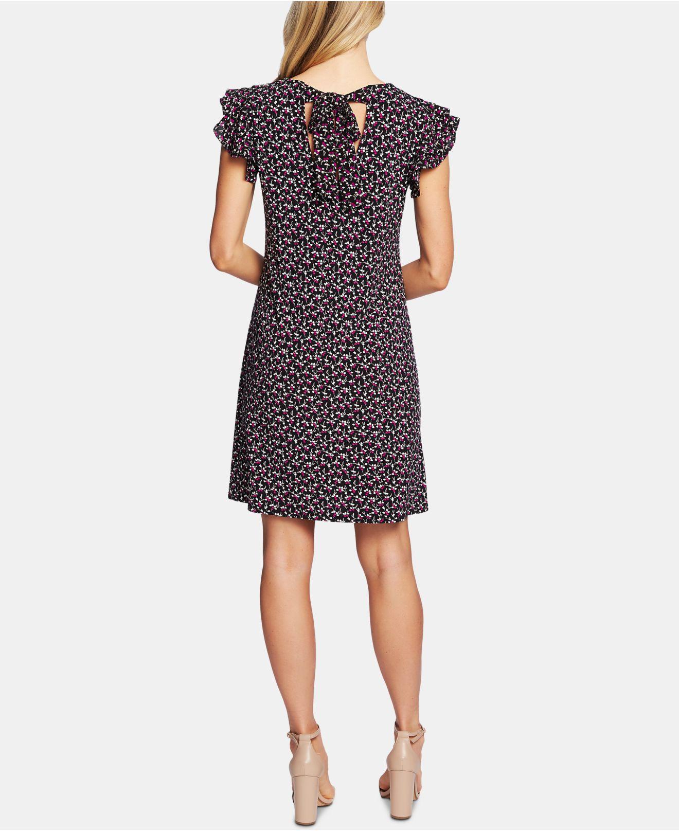 92d431ec3b1f Cece Flutter-sleeve Floral-print Dress in Black - Lyst