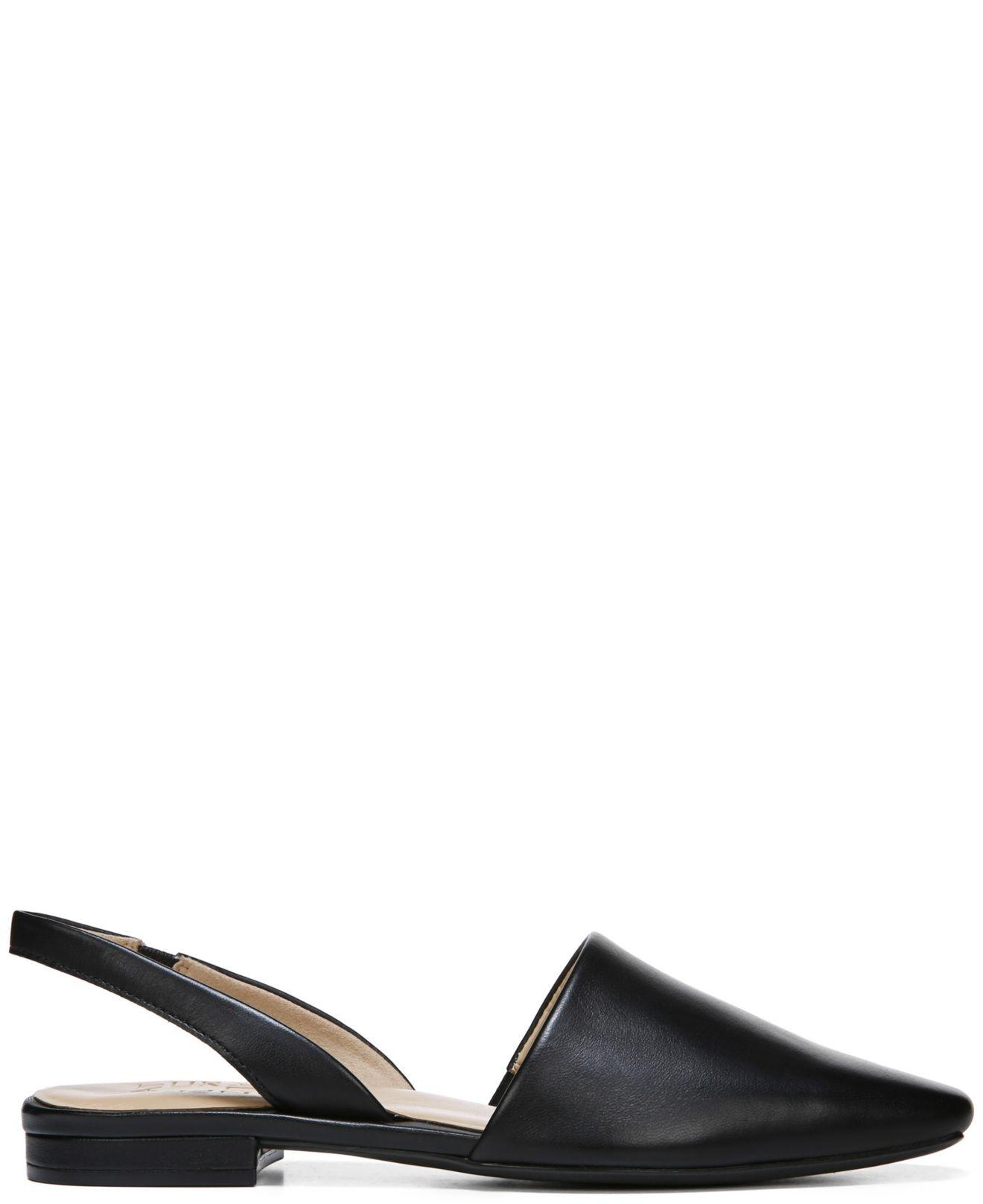 Kerrie Slingback Flats in Black Leather