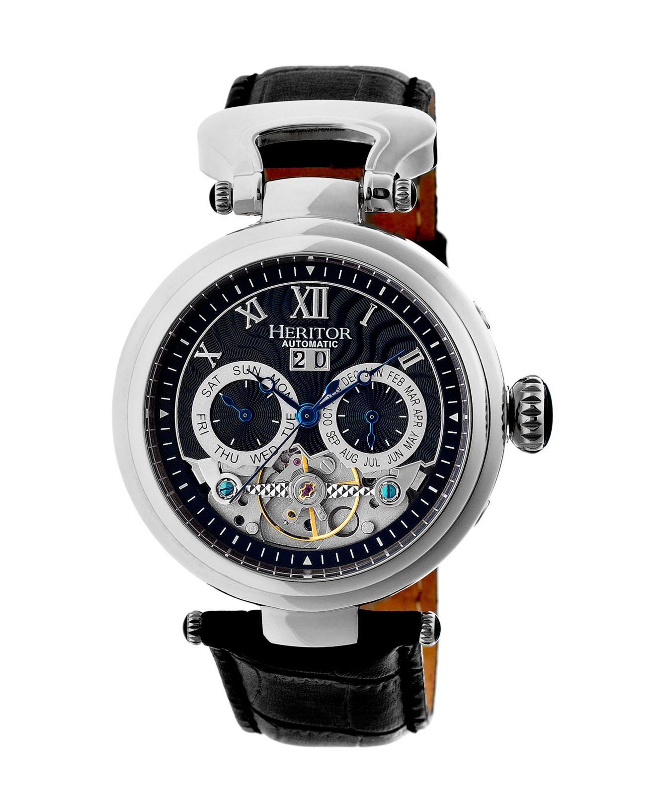 77b437f0f Lyst - Heritor Automatic Ganzi Silver & Black Leather Watches 44mm ...