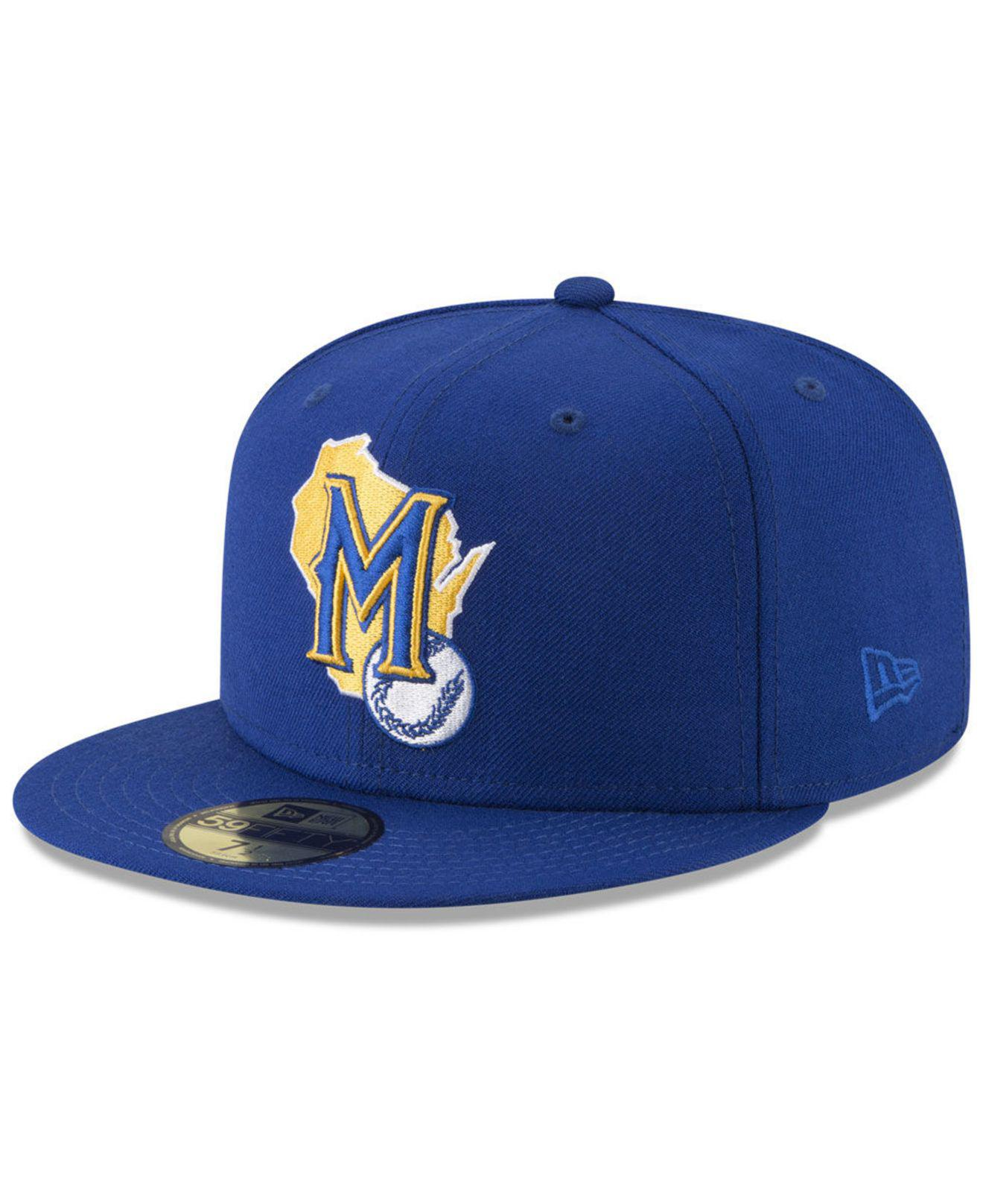 6c6067a0 KTZ Blue Milwaukee Brewers Batting Practice Wool Flip 59fifty Fitted Cap  for men