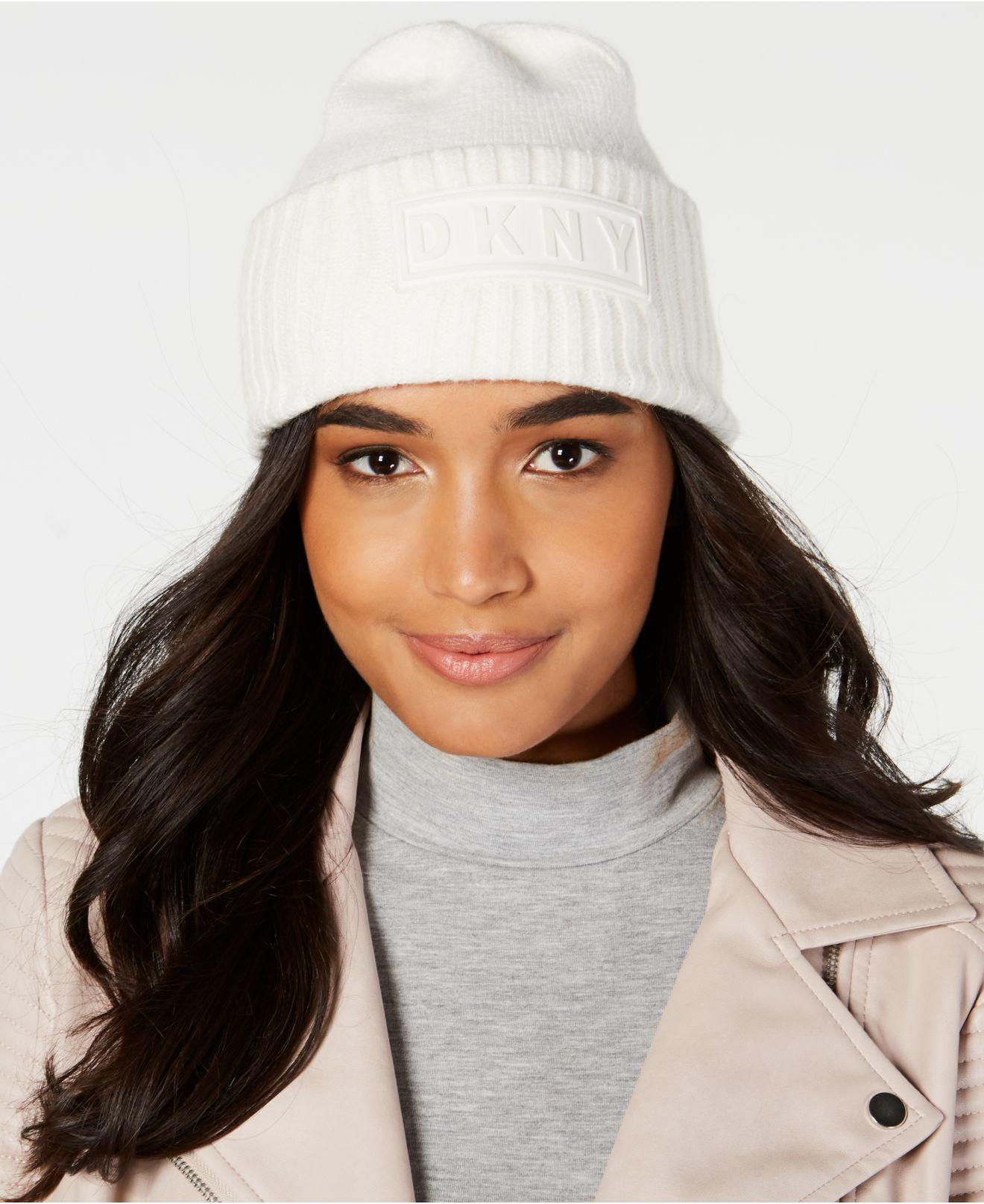 0d57ee35b67 Lyst - DKNY Puff-patch Ribbed Beanie