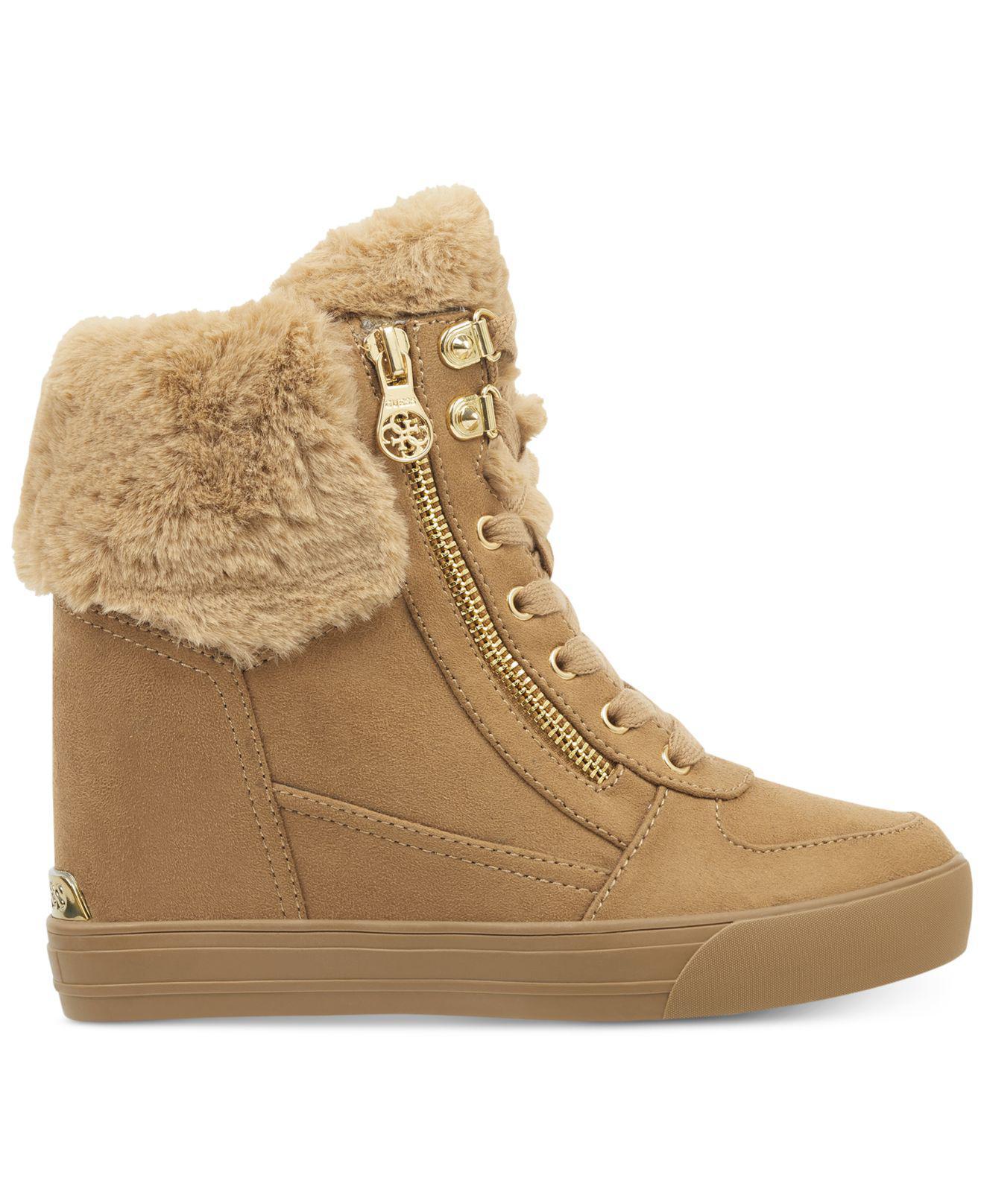 8b1b1657426 Lyst - Guess Dustyn Wedge Sneakers in Natural