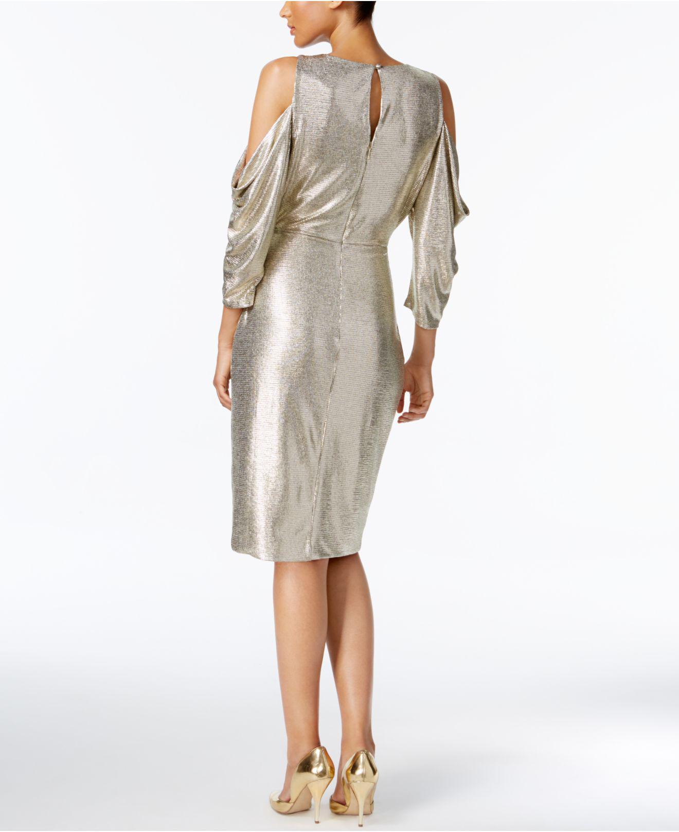 Rachel Roy Cold Shoulder Metallic Wrap Dress Lyst View Fullscreen