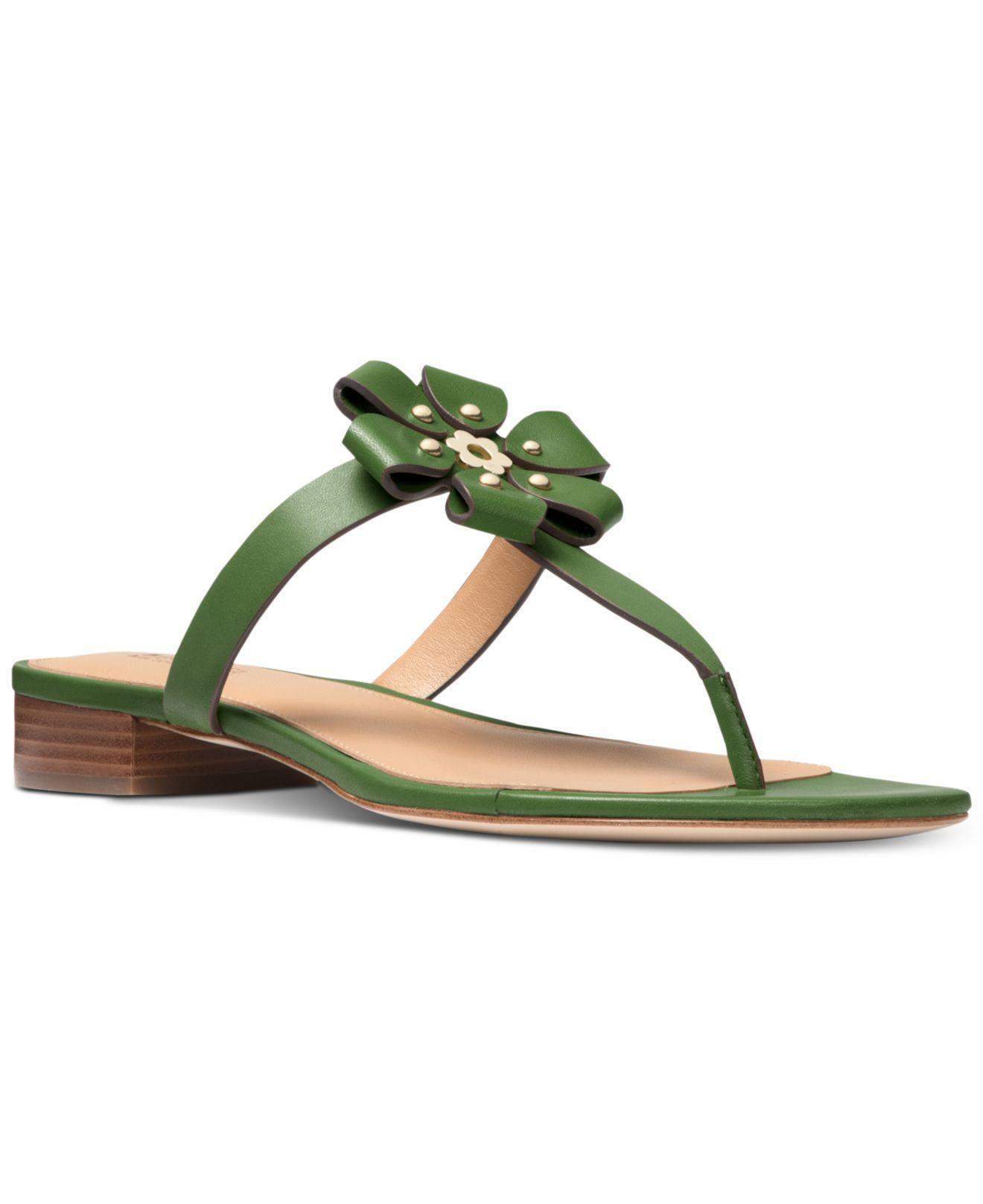 646f7caecc9 Michael Kors Tara Flat Thong Sandals in Green - Lyst