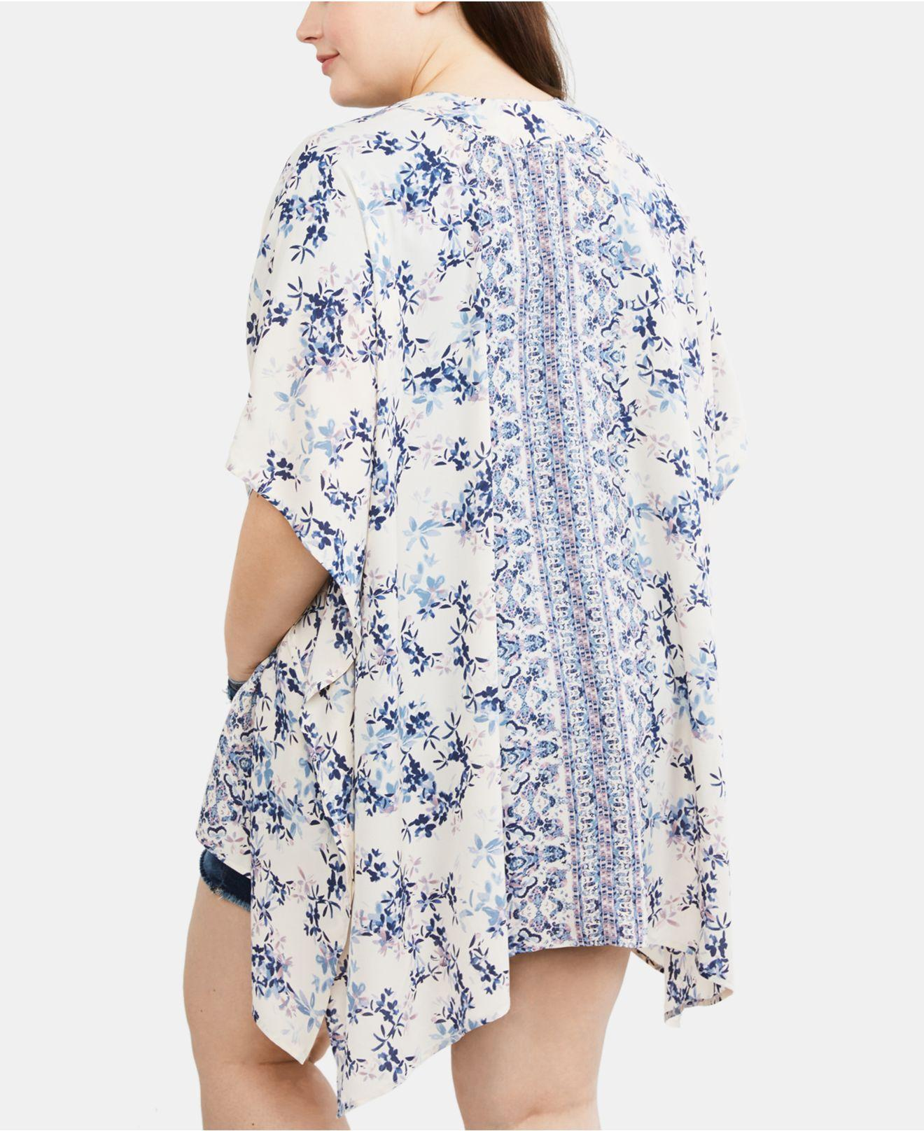 35cd38ef8ad Lyst - Jessica Simpson Maternity Plus Size Printed Kimono Blouse in Blue